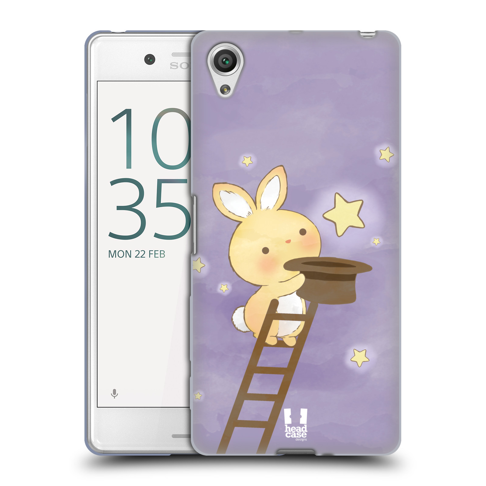 HEAD CASE silikonový obal na mobil Sony Xperia X PERFORMANCE (F8131, F8132) vzor králíček a hvězdy fialová
