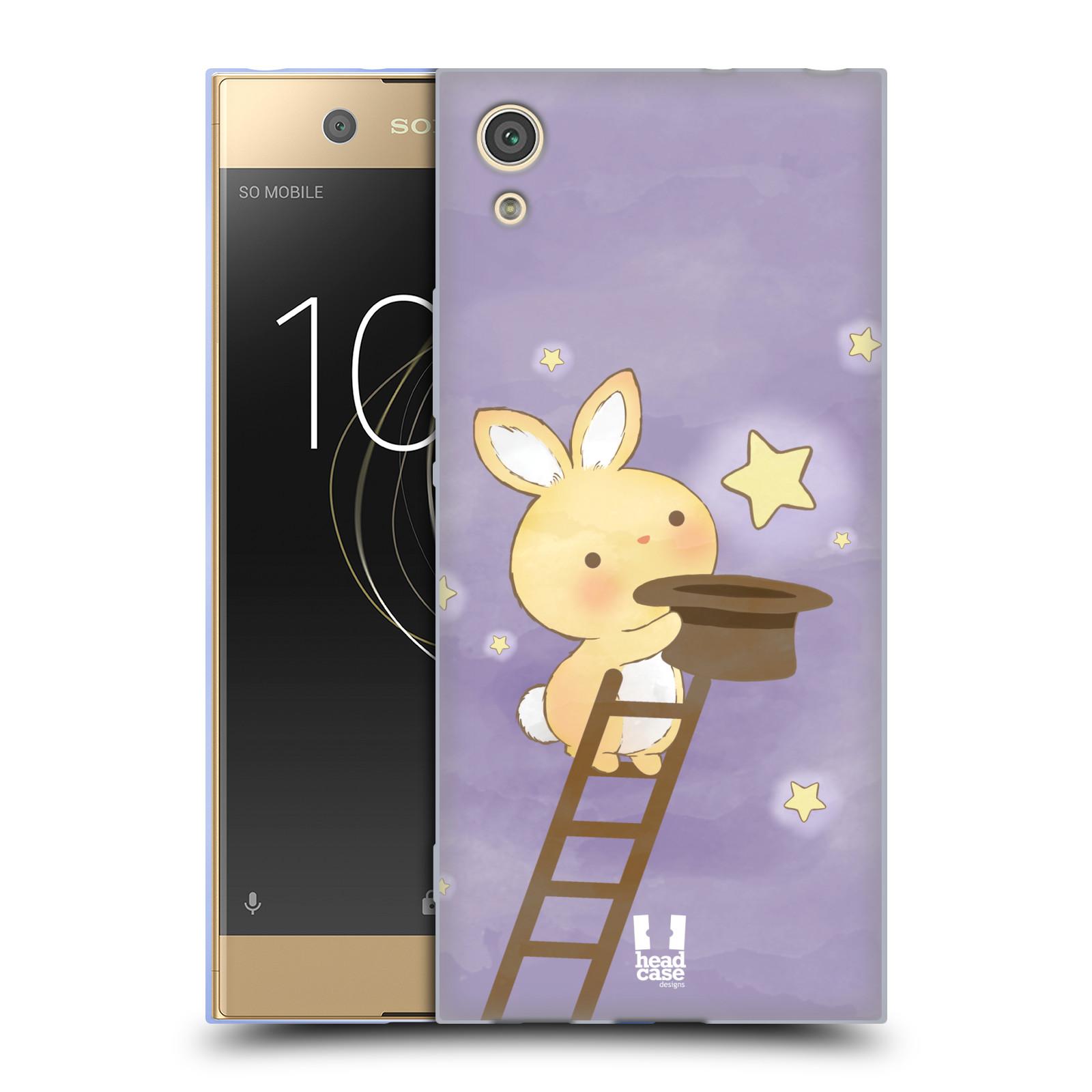 HEAD CASE silikonový obal na mobil Sony Xperia XA1 / XA1 DUAL SIM vzor králíček a hvězdy fialová