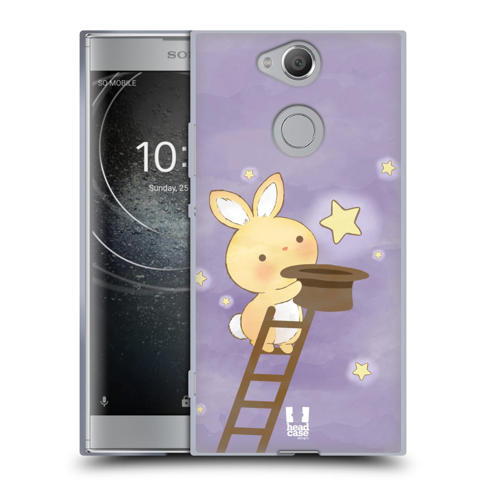 Pouzdro na mobil Sony Xperia XA2 (DUAL SIM, SINGLE SIM) vzor králíček a hvězdy fialová