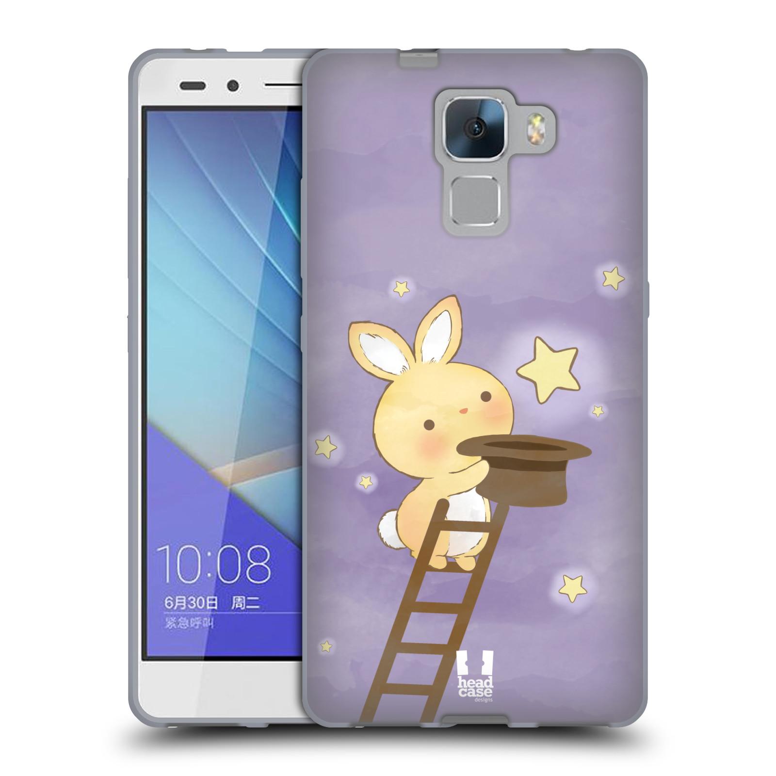 HEAD CASE silikonový obal na mobil HUAWEI HONOR 7 vzor králíček a hvězdy fialová