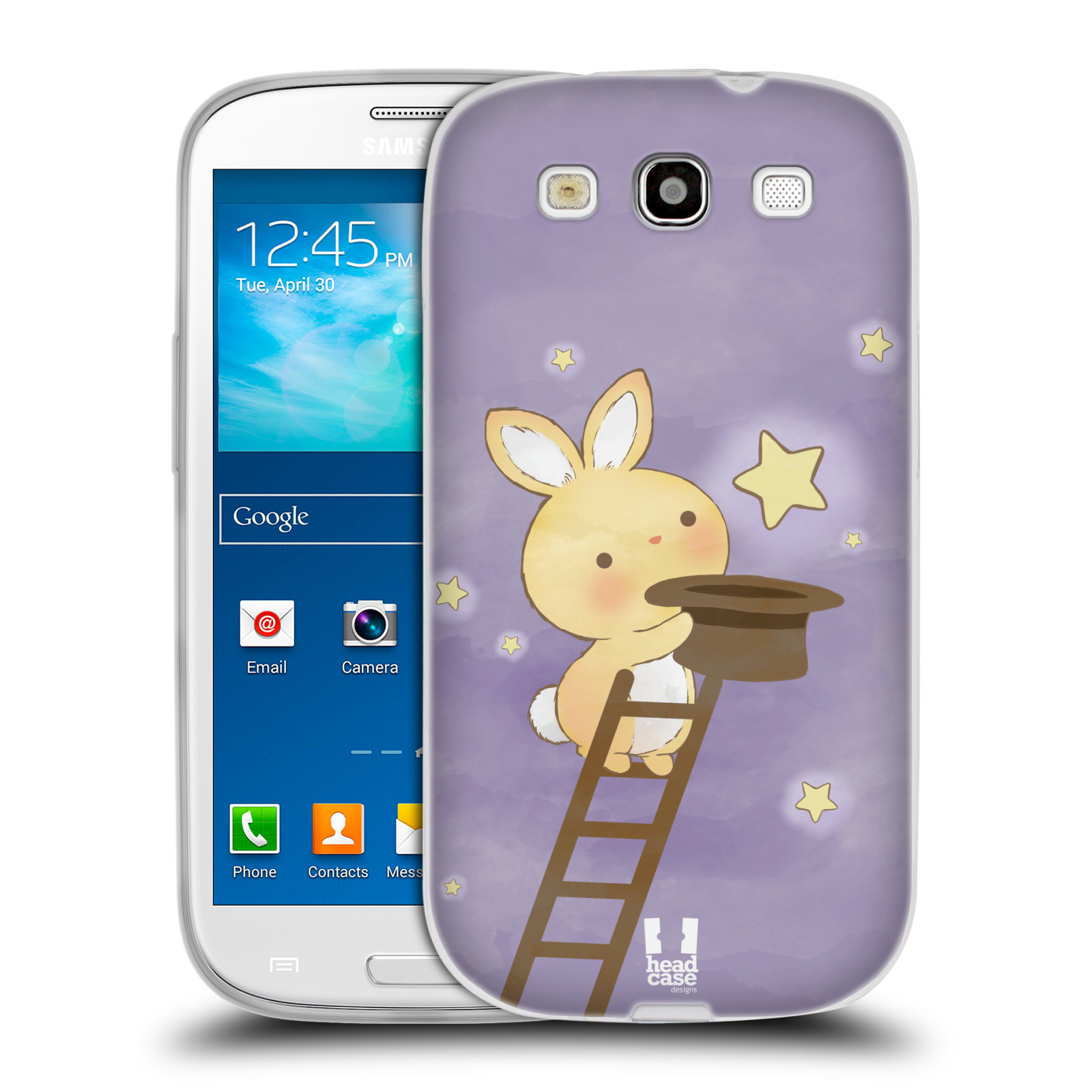 HEAD CASE silikonový obal na mobil Samsung Galaxy S3 i9300 vzor králíček a hvězdy fialová