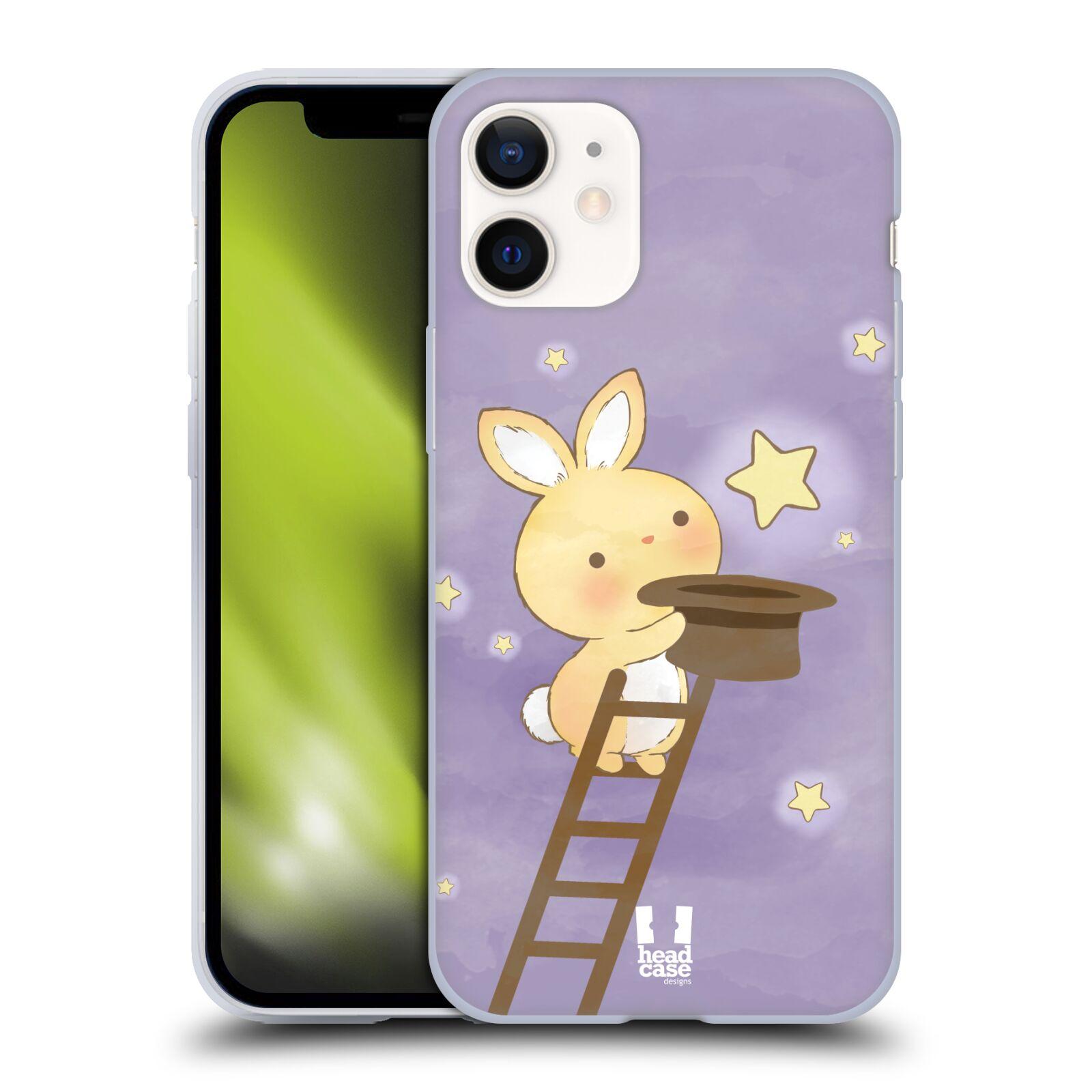 Plastový obal na mobil Apple Iphone 12 MINI vzor králíček a hvězdy fialová