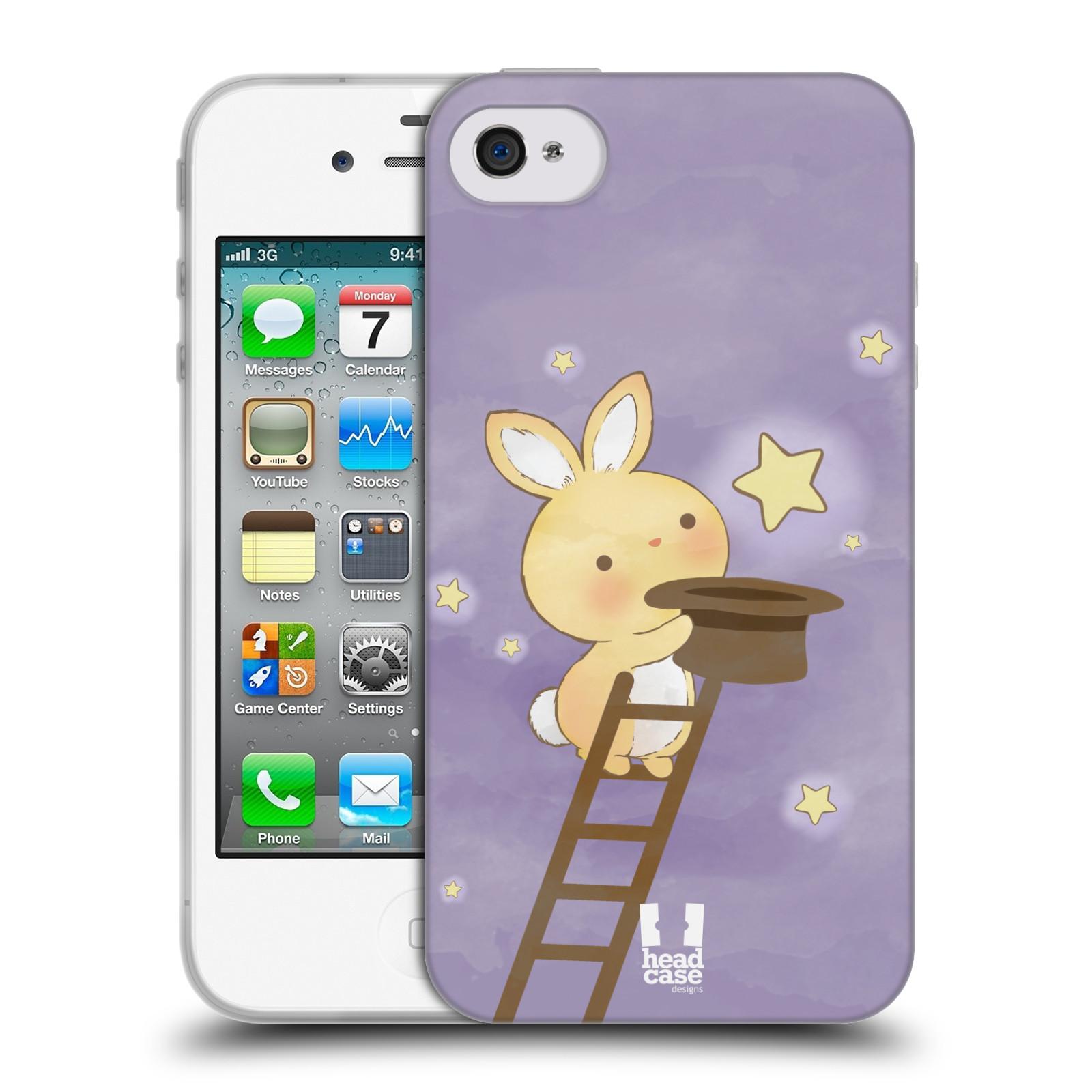 HEAD CASE silikonový obal na mobil Apple Iphone 4/4S vzor králíček a hvězdy fialová