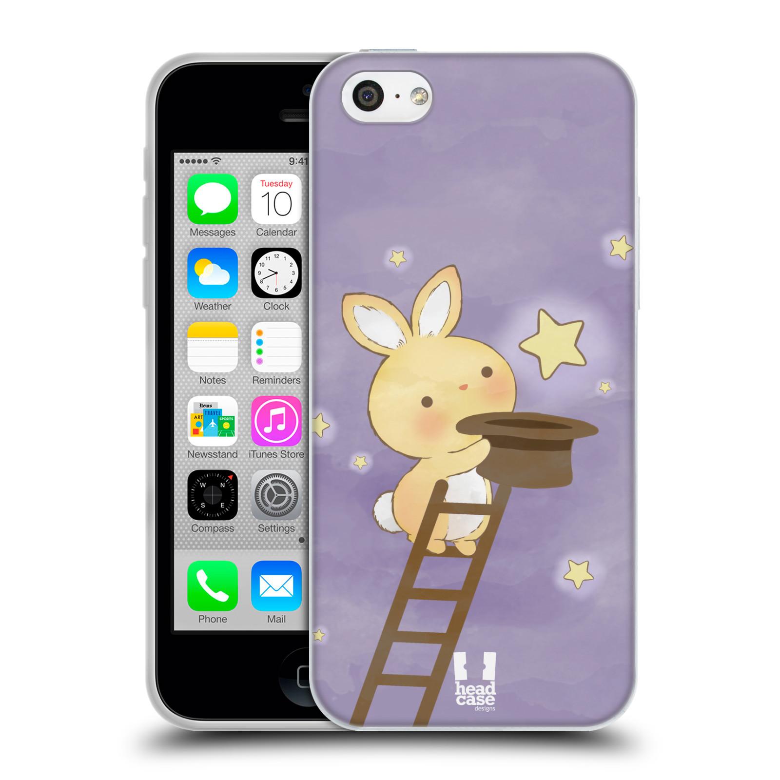 HEAD CASE silikonový obal na mobil Apple Iphone 5C vzor králíček a hvězdy fialová