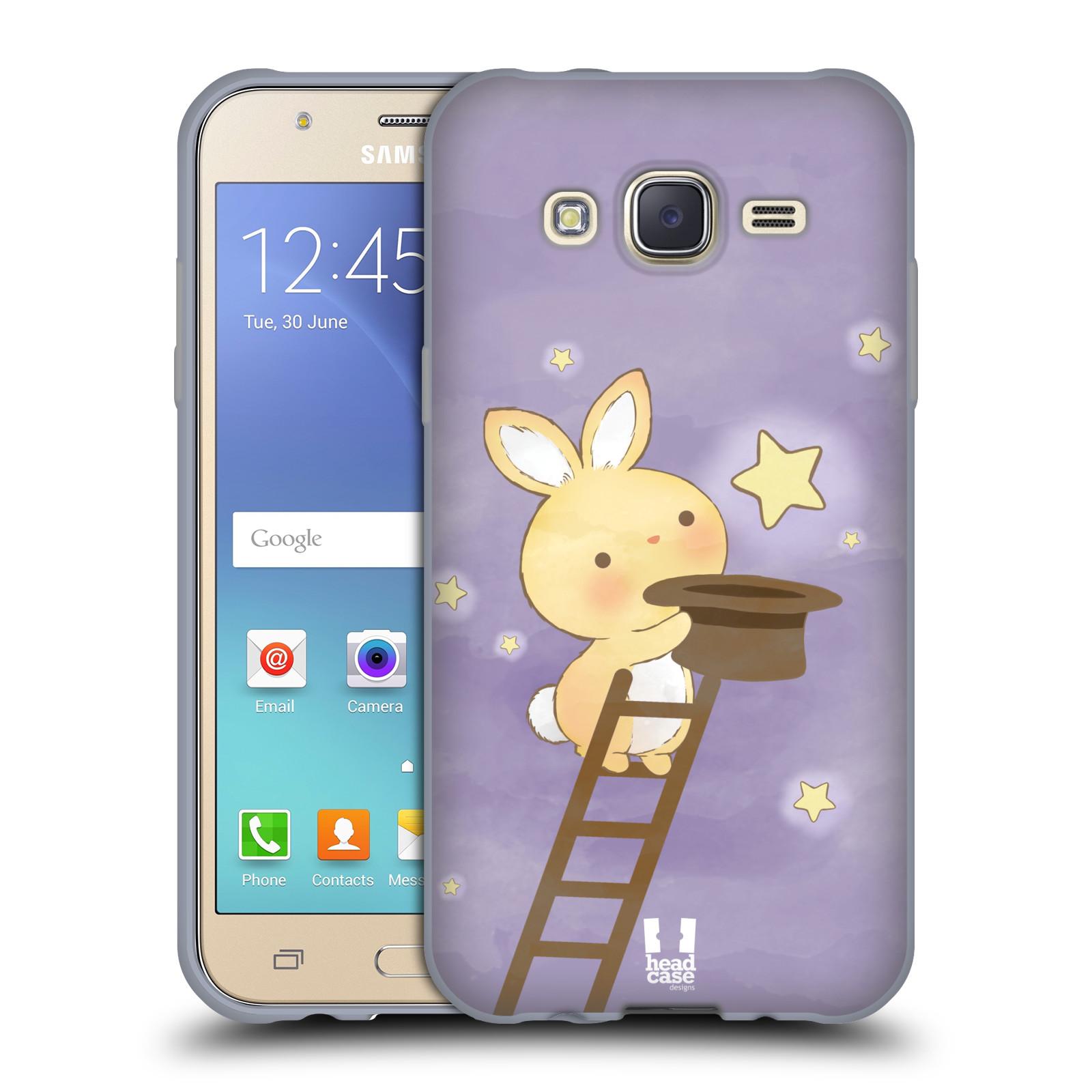 HEAD CASE silikonový obal na mobil Samsung Galaxy J5, J500, (J5 DUOS) vzor králíček a hvězdy fialová