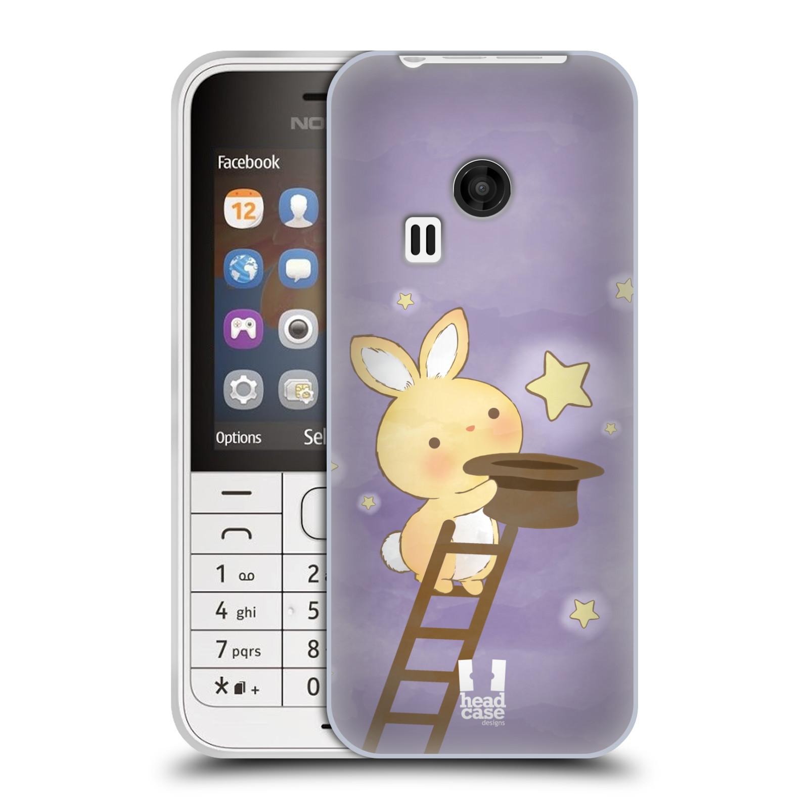 HEAD CASE silikonový obal na mobil NOKIA 220 / NOKIA 220 DUAL SIM vzor králíček a hvězdy fialová