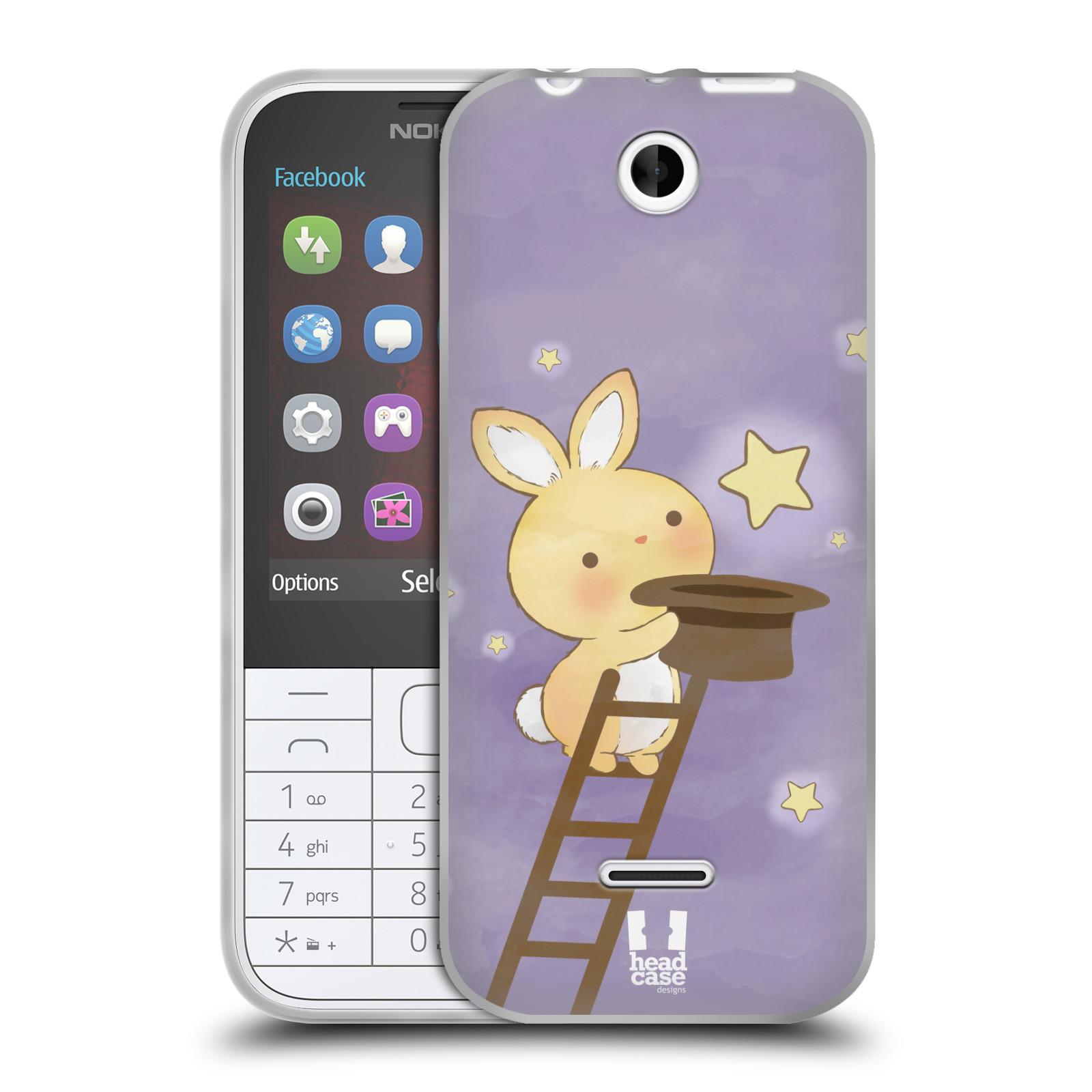 HEAD CASE silikonový obal na mobil NOKIA 225 / NOKIA 225 DUAL SIM vzor králíček a hvězdy fialová