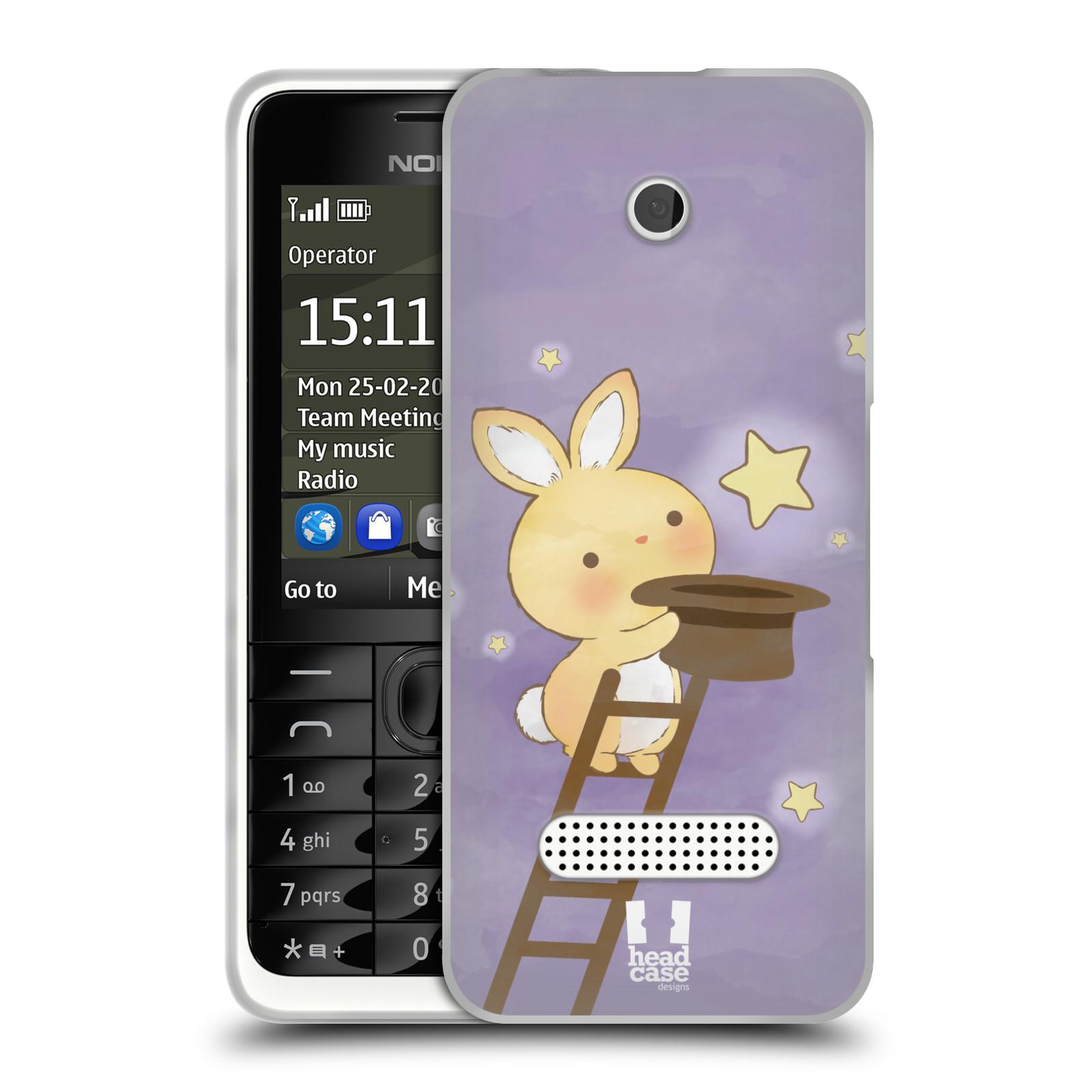 HEAD CASE silikonový obal na mobil NOKIA 301 vzor králíček a hvězdy fialová