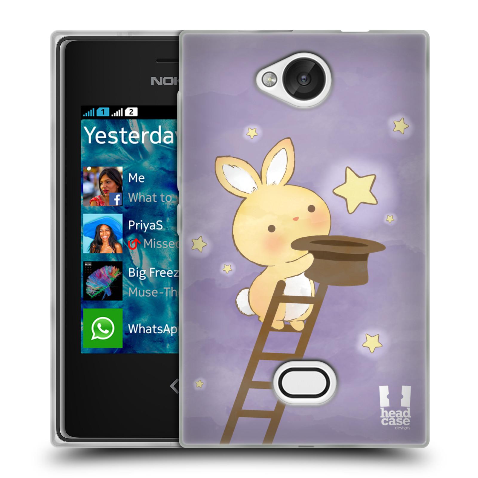 HEAD CASE silikonový obal na mobil NOKIA Asha 503 vzor králíček a hvězdy fialová
