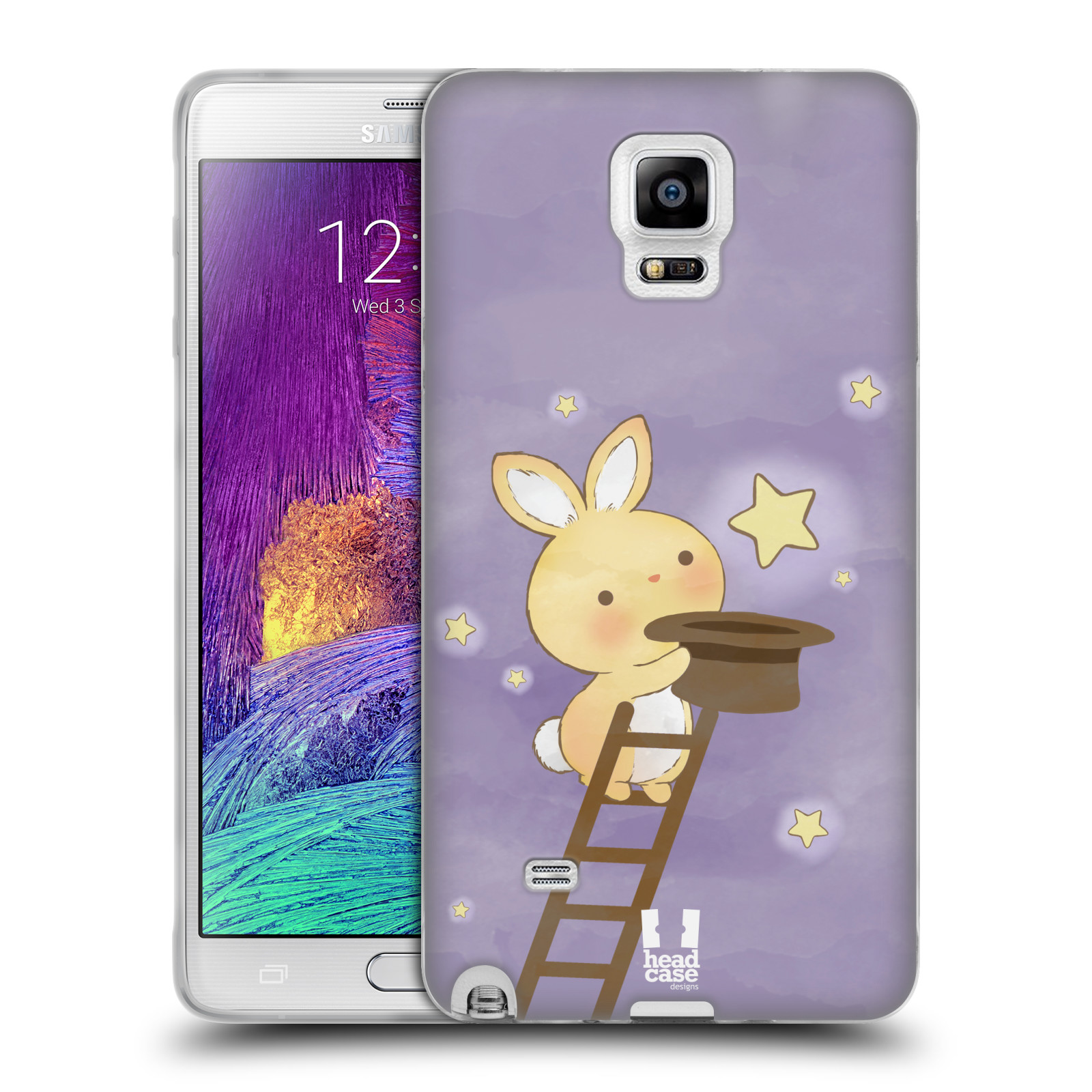 HEAD CASE silikonový obal na mobil Samsung Galaxy Note 4 (N910) vzor králíček a hvězdy fialová