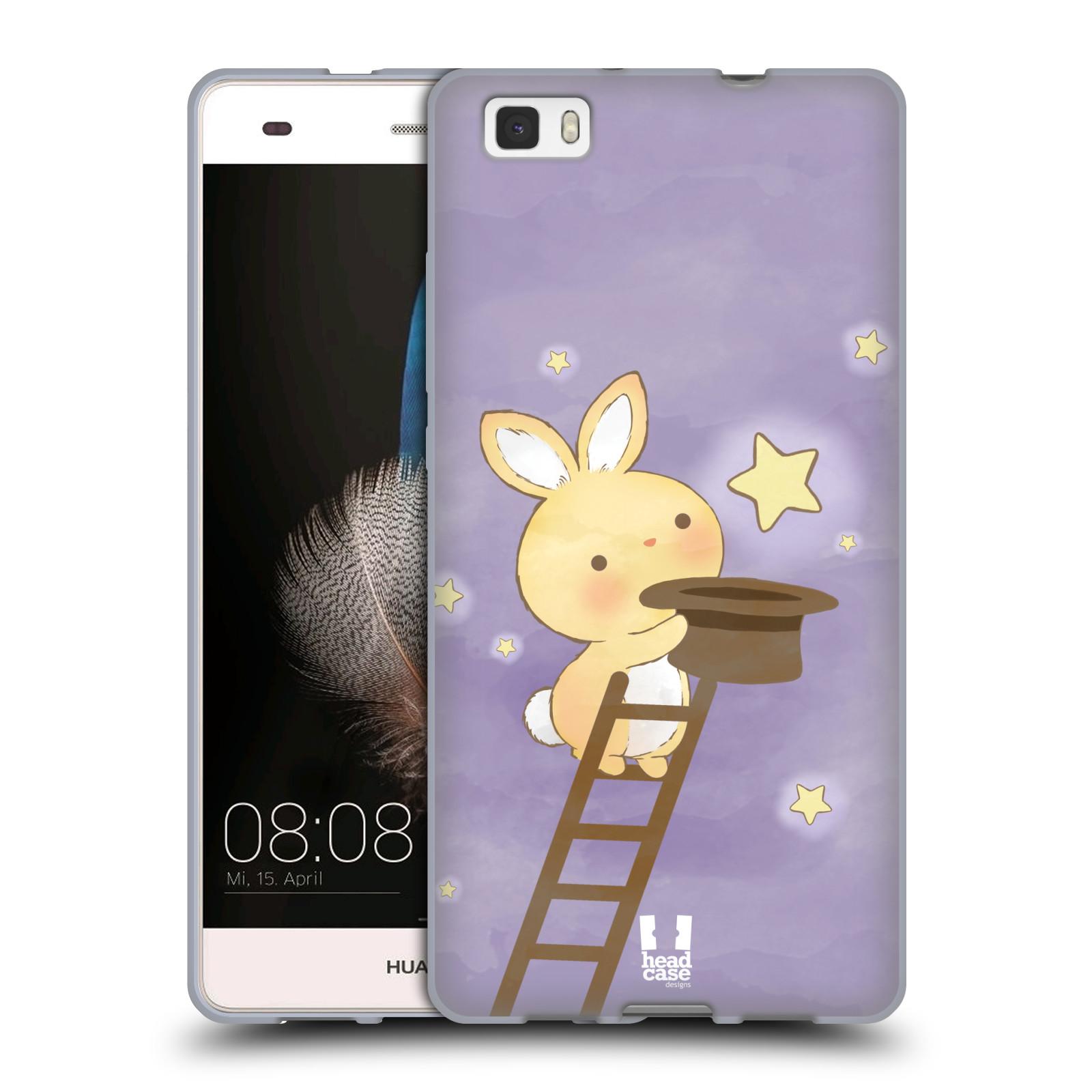 HEAD CASE silikonový obal na mobil HUAWEI P8 LITE vzor králíček a hvězdy fialová