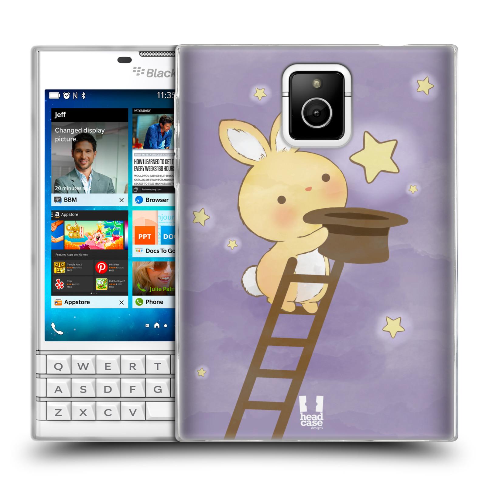 HEAD CASE silikonový obal na mobil Blackberry PASSPORT vzor králíček a hvězdy fialová