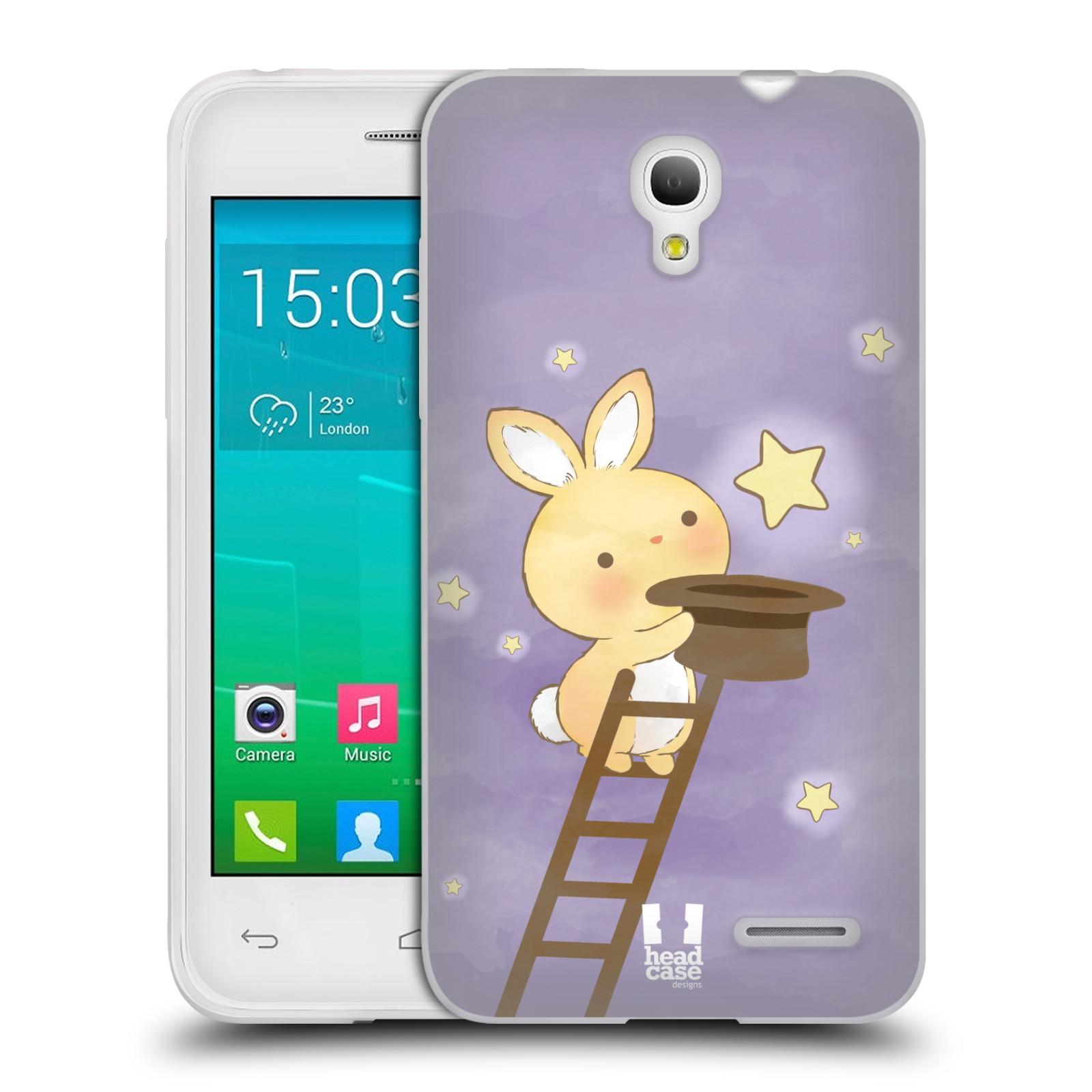 HEAD CASE silikonový obal na mobil Alcatel POP S3 OT-5050Y vzor králíček a hvězdy fialová