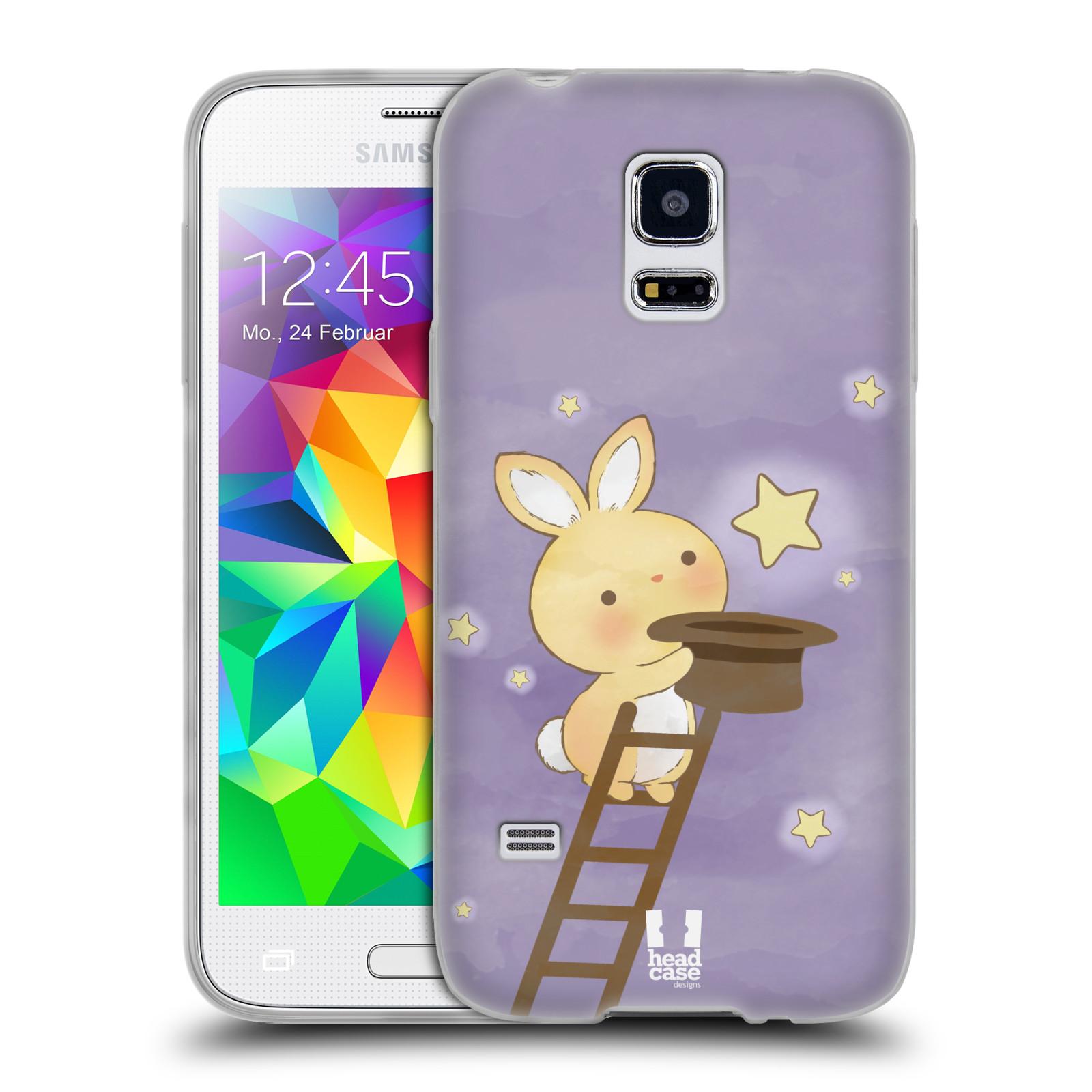 HEAD CASE silikonový obal na mobil Samsung Galaxy S5 MINI vzor králíček a hvězdy fialová