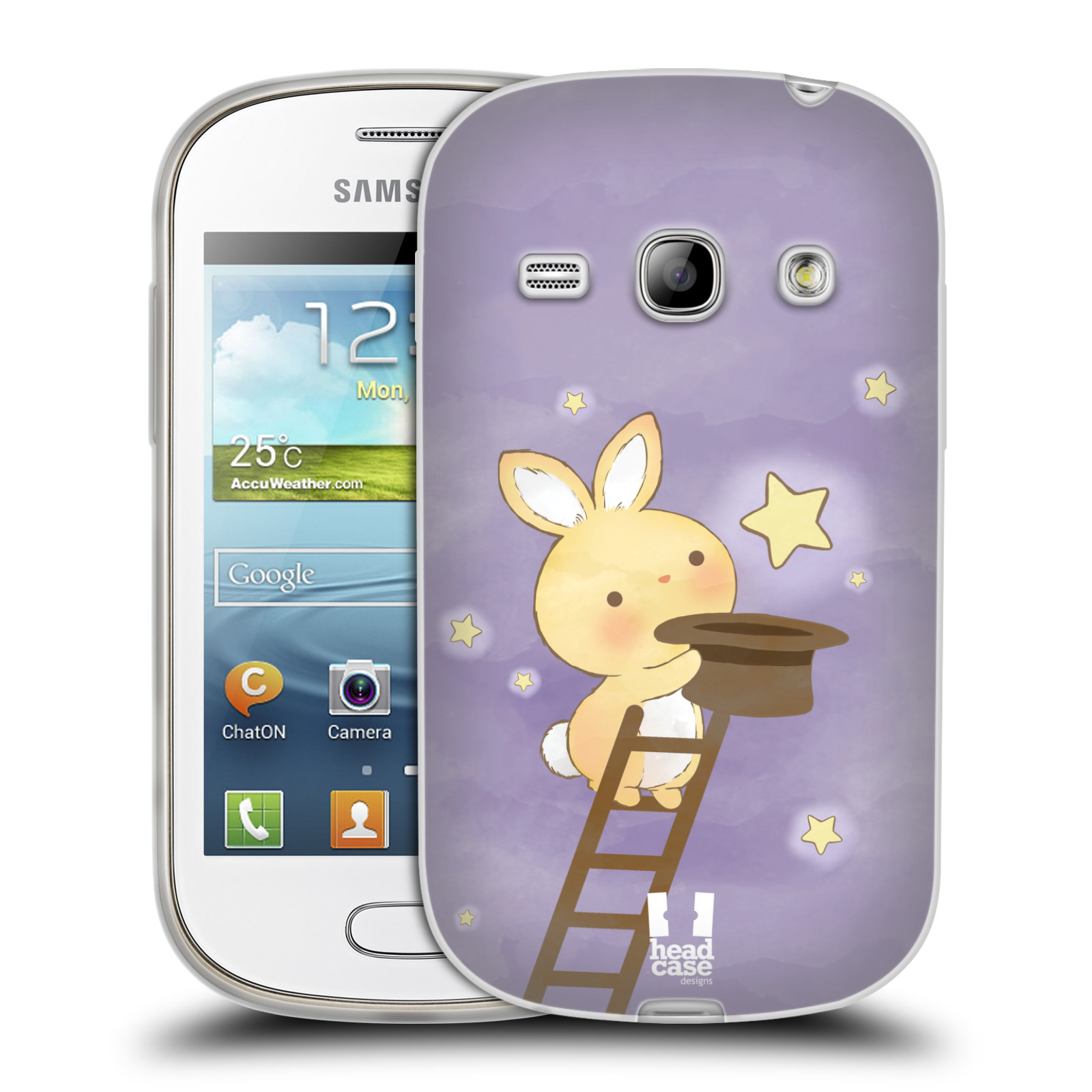 HEAD CASE silikonový obal na mobil Samsung Galaxy FAME vzor králíček a hvězdy fialová