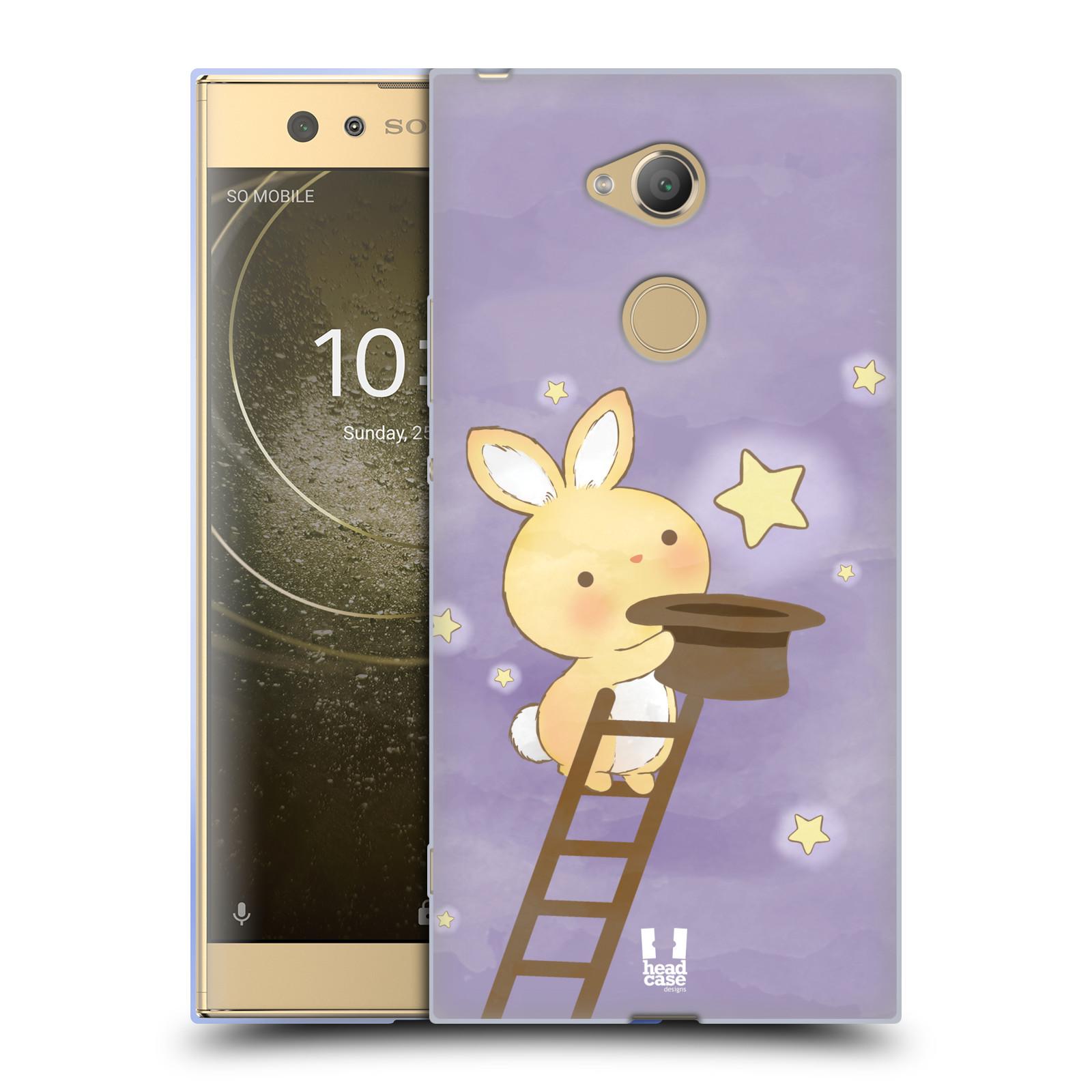 Pouzdro na mobil Sony Xperia XA2 Ultra vzor králíček a hvězdy fialová