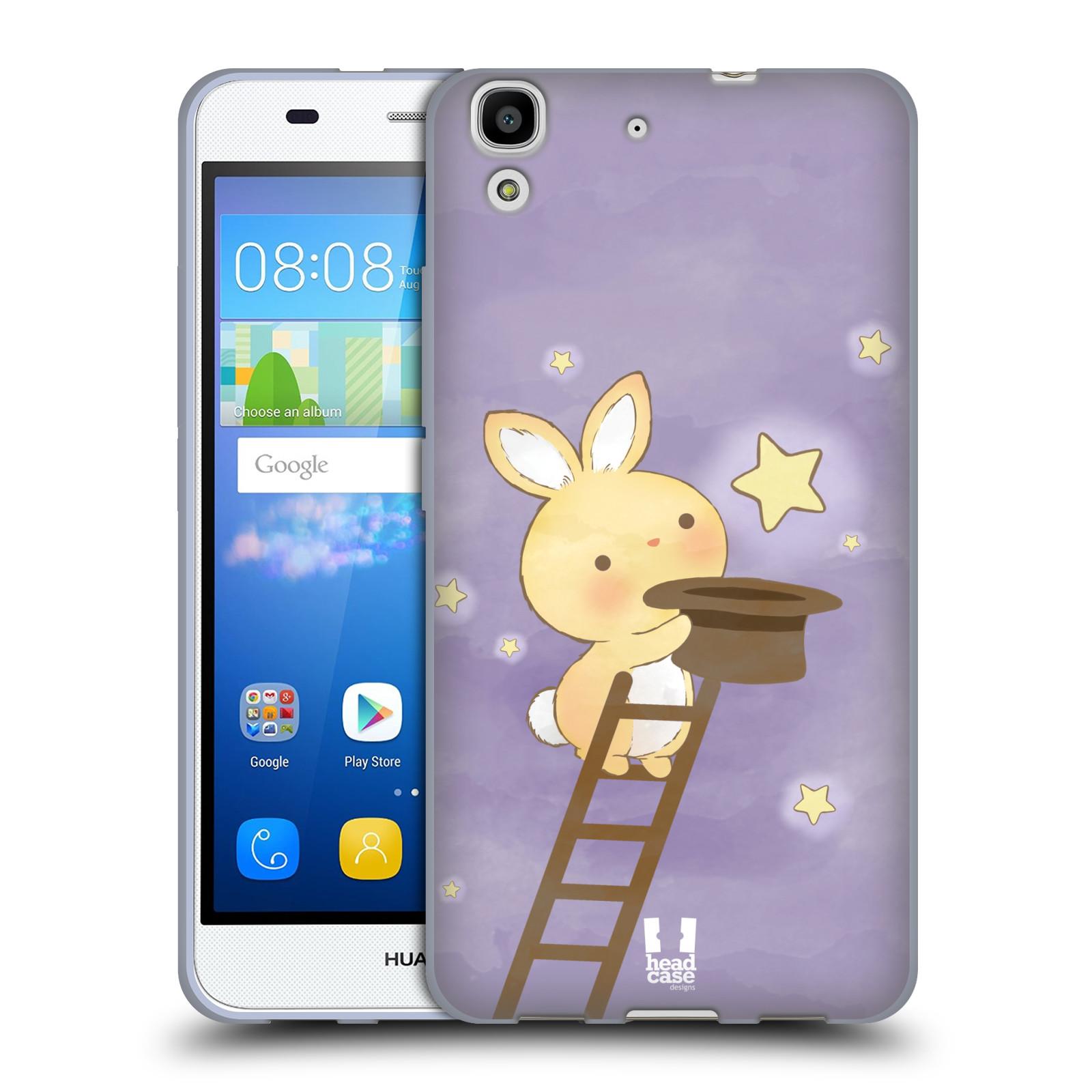 HEAD CASE silikonový obal na mobil HUAWEI Y6 vzor králíček a hvězdy fialová