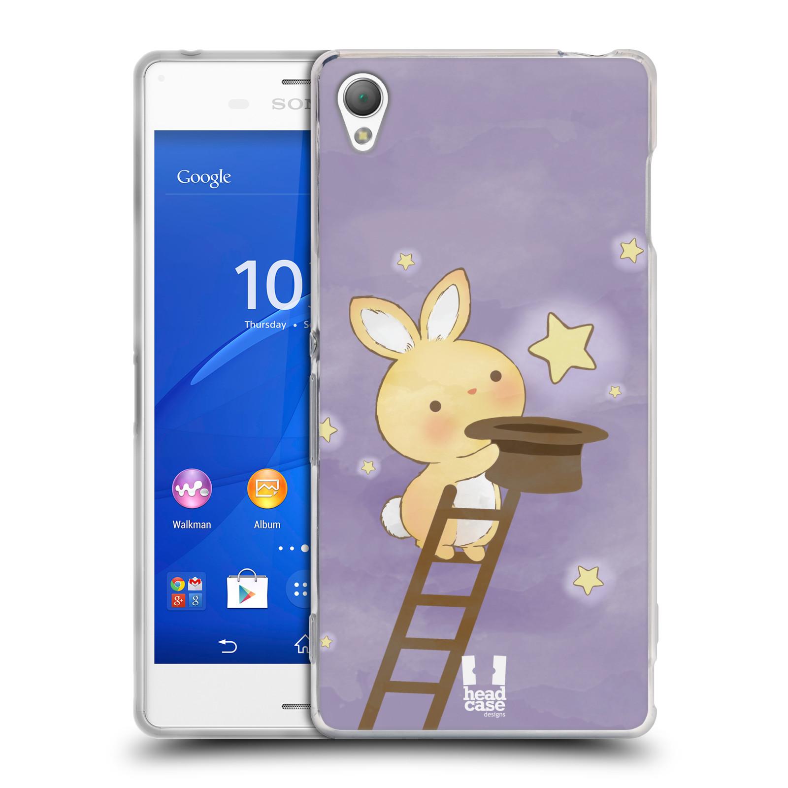 HEAD CASE silikonový obal na mobil Sony Xperia Z3 vzor králíček a hvězdy fialová