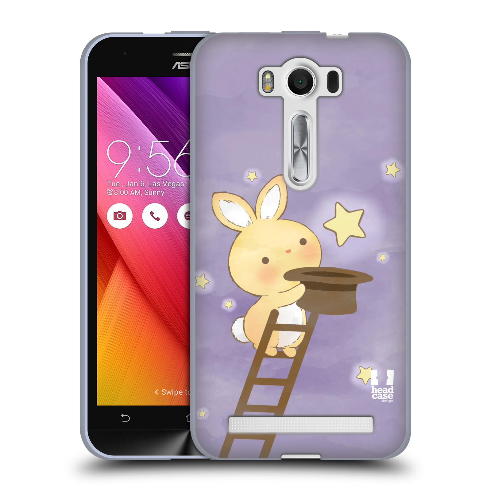 """HEAD CASE silikonový obal na mobil Asus Zenfone 2 LASER (ZE500KL s 5"""" displejem) vzor králíček a hvězdy fialová"""
