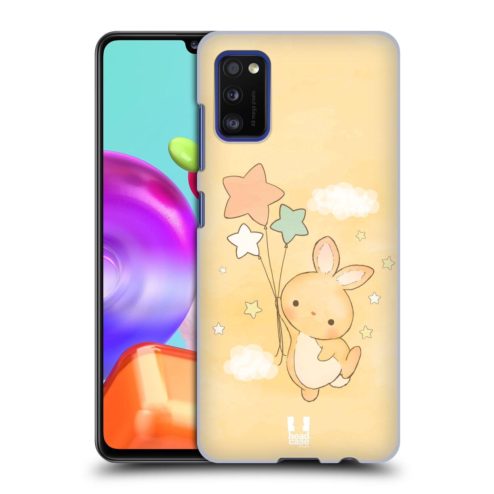 Zadní kryt na mobil Samsung Galaxy A41 vzor králíček a hvězdy žlutá