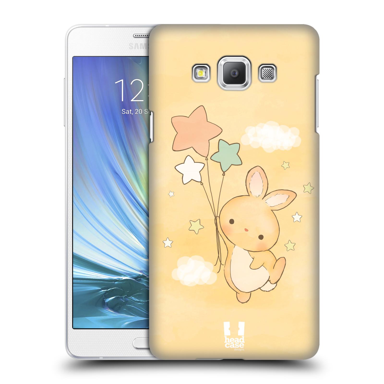 HEAD CASE plastový obal na mobil SAMSUNG GALAXY A7 vzor králíček a hvězdy žlutá