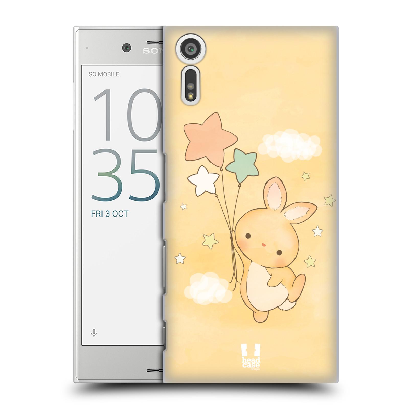 HEAD CASE plastový obal na mobil Sony Xperia XZ vzor králíček a hvězdy žlutá