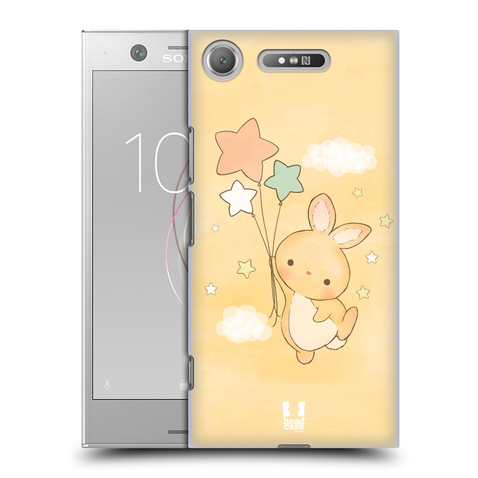 HEAD CASE plastový obal na mobil Sony Xperia XZ1 vzor králíček a hvězdy žlutá