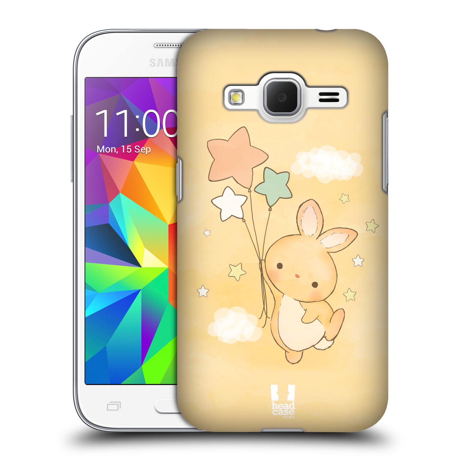 HEAD CASE plastový obal na mobil SAMSUNG GALAXY Core Prime (Core Prime VE) vzor králíček a hvězdy žlutá