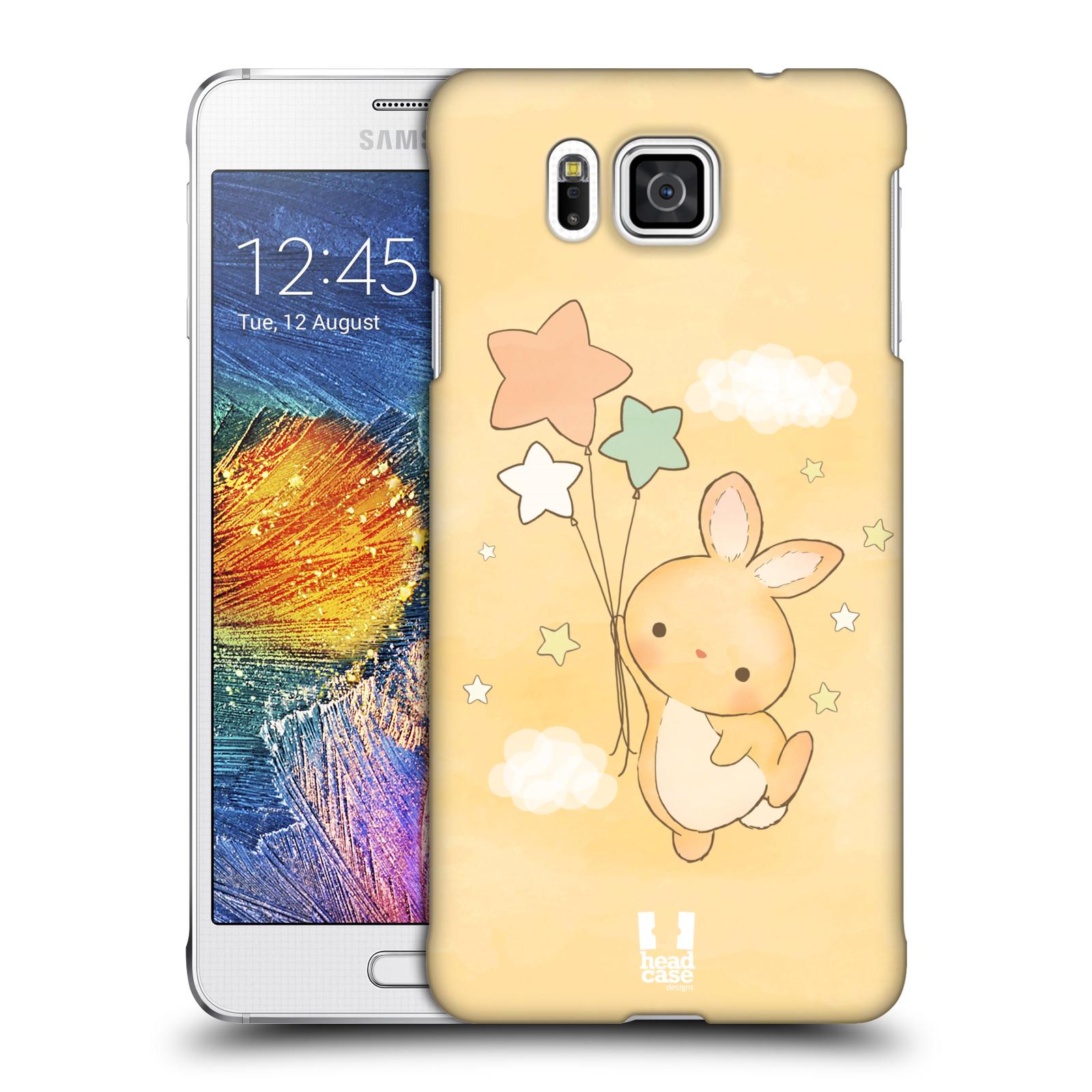 HEAD CASE plastový obal na mobil SAMSUNG Galaxy Alpha (G850) vzor králíček a hvězdy žlutá