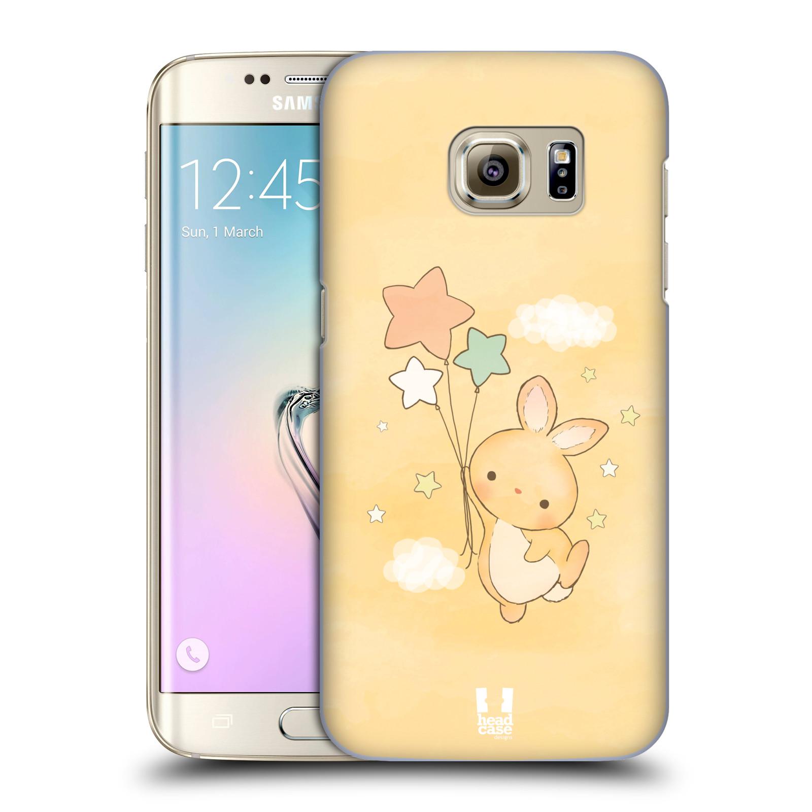 HEAD CASE plastový obal na mobil SAMSUNG GALAXY S7 EDGE vzor králíček a hvězdy žlutá