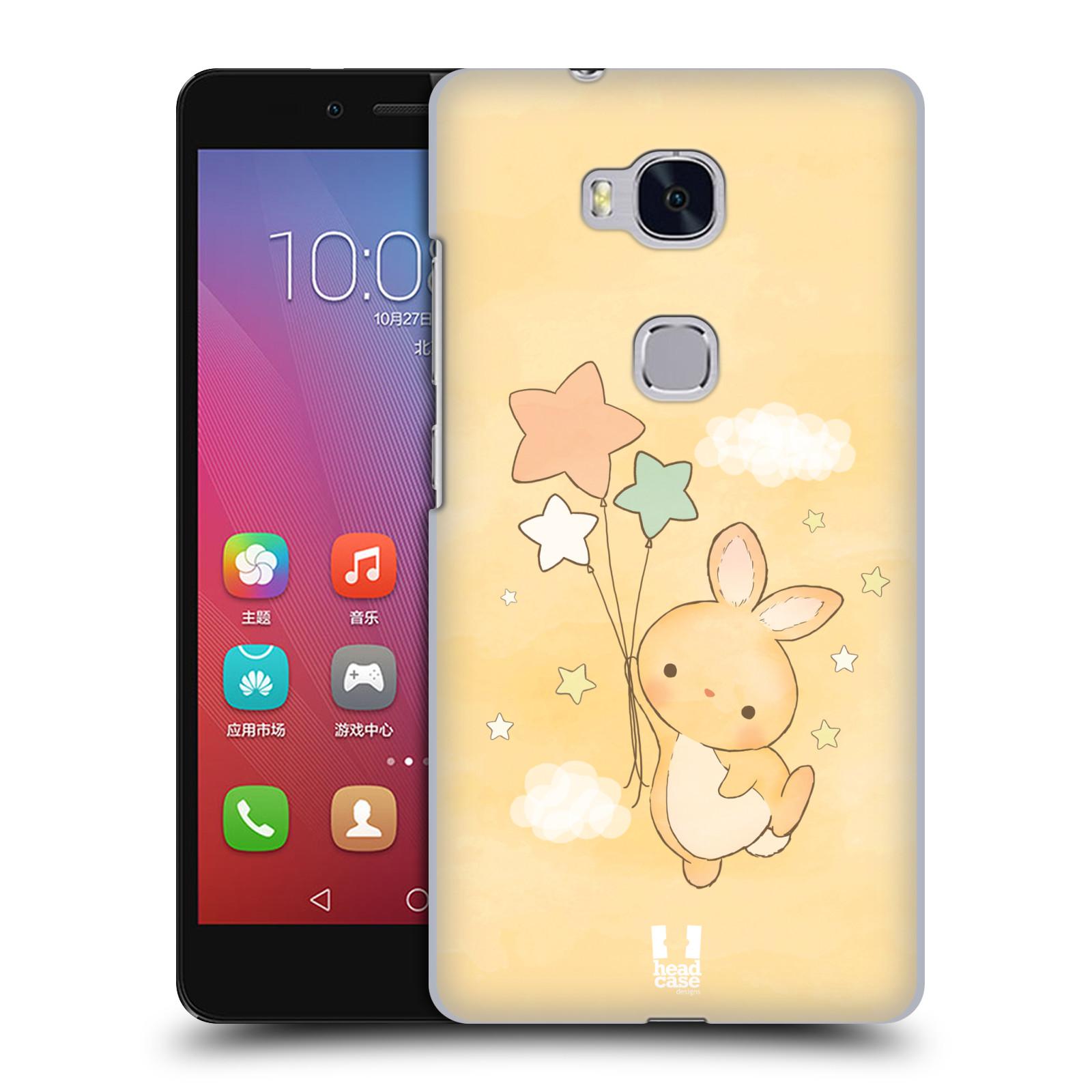HEAD CASE pevný plastový obal na mobil HUAWEI HONOR 5X vzor králíček a hvězdy žlutá