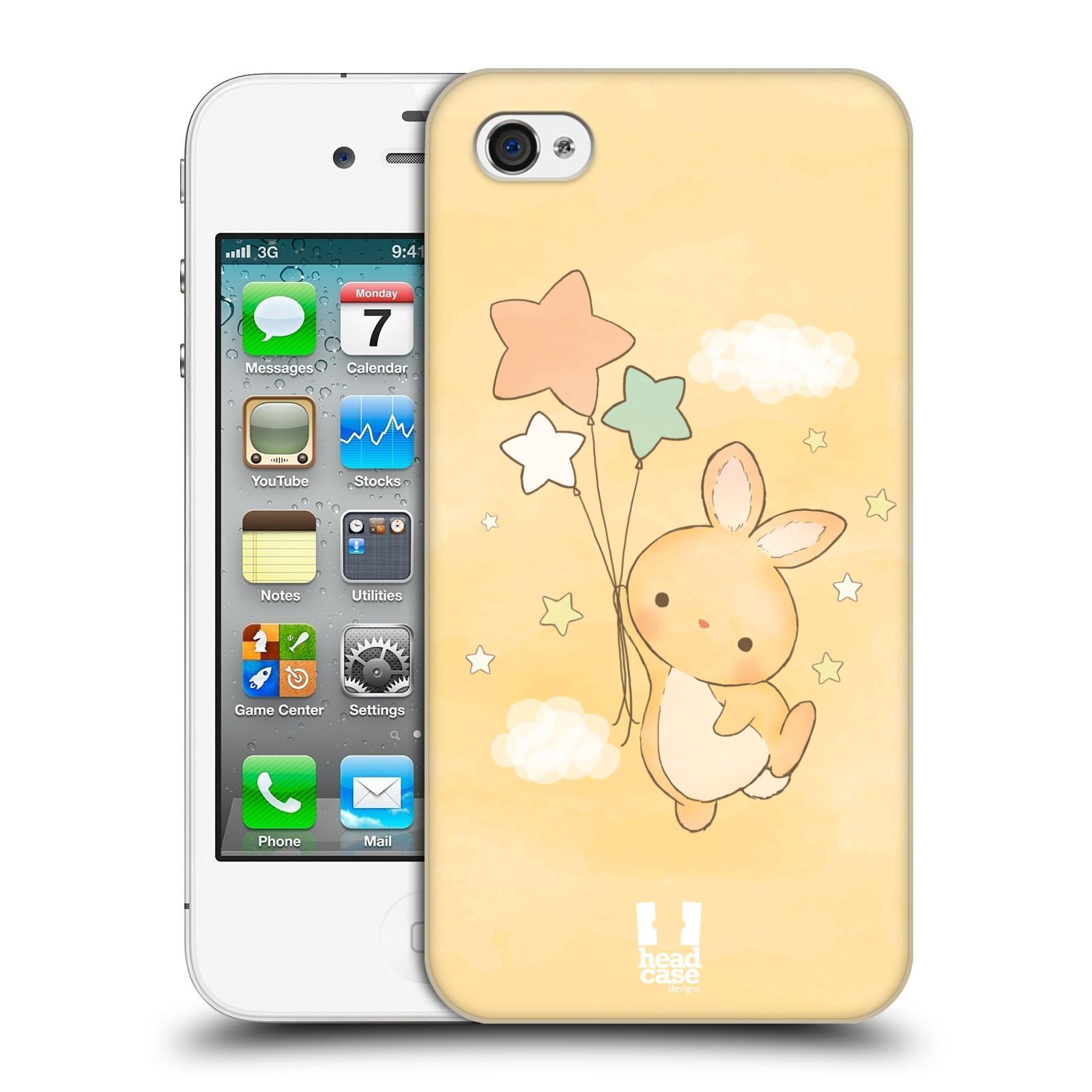 HEAD CASE plastový obal na mobil Apple Iphone 4/4S vzor králíček a hvězdy žlutá