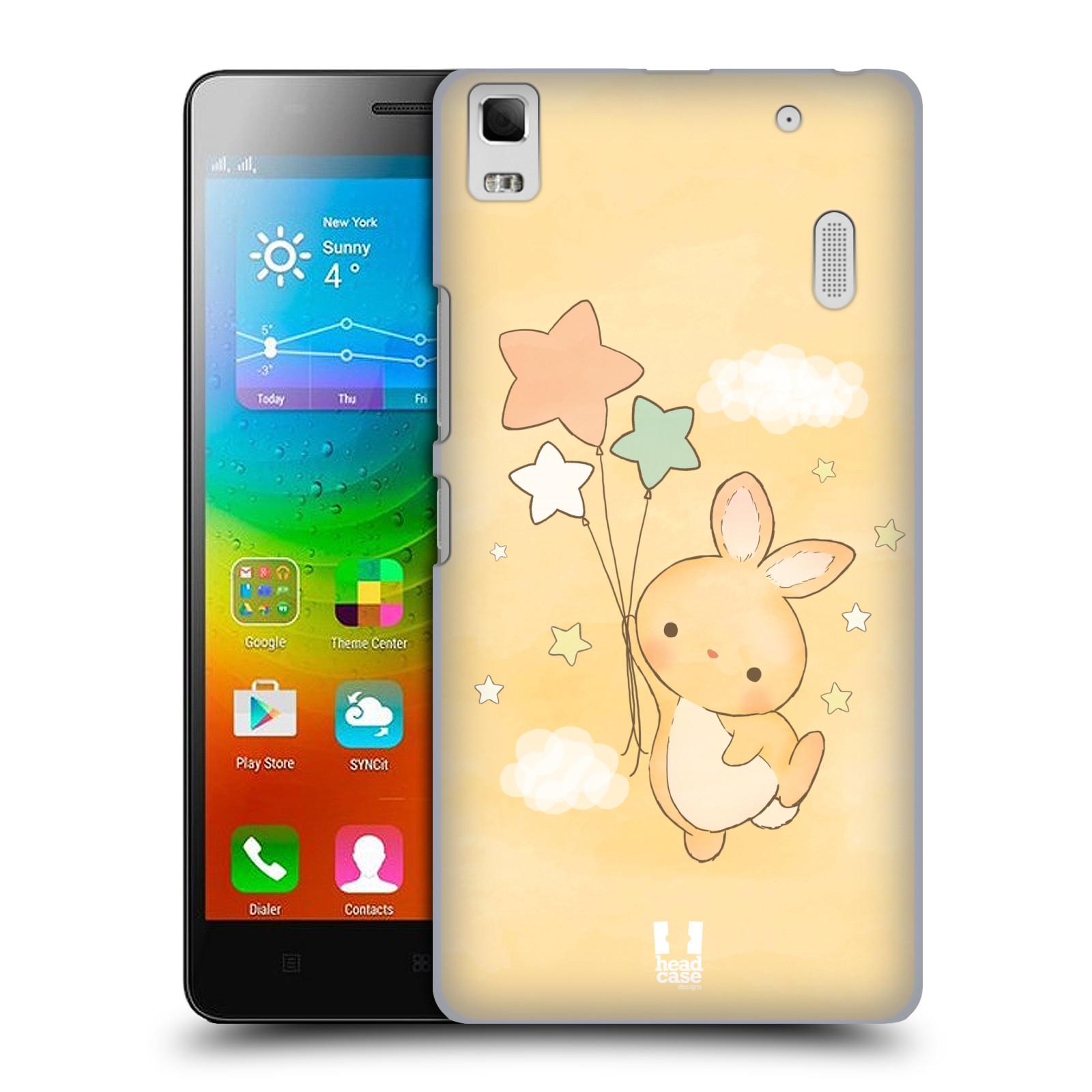 HEAD CASE pevný plastový obal na mobil LENOVO A7000 / A7000 DUAL / K3 NOTE vzor králíček a hvězdy žlutá