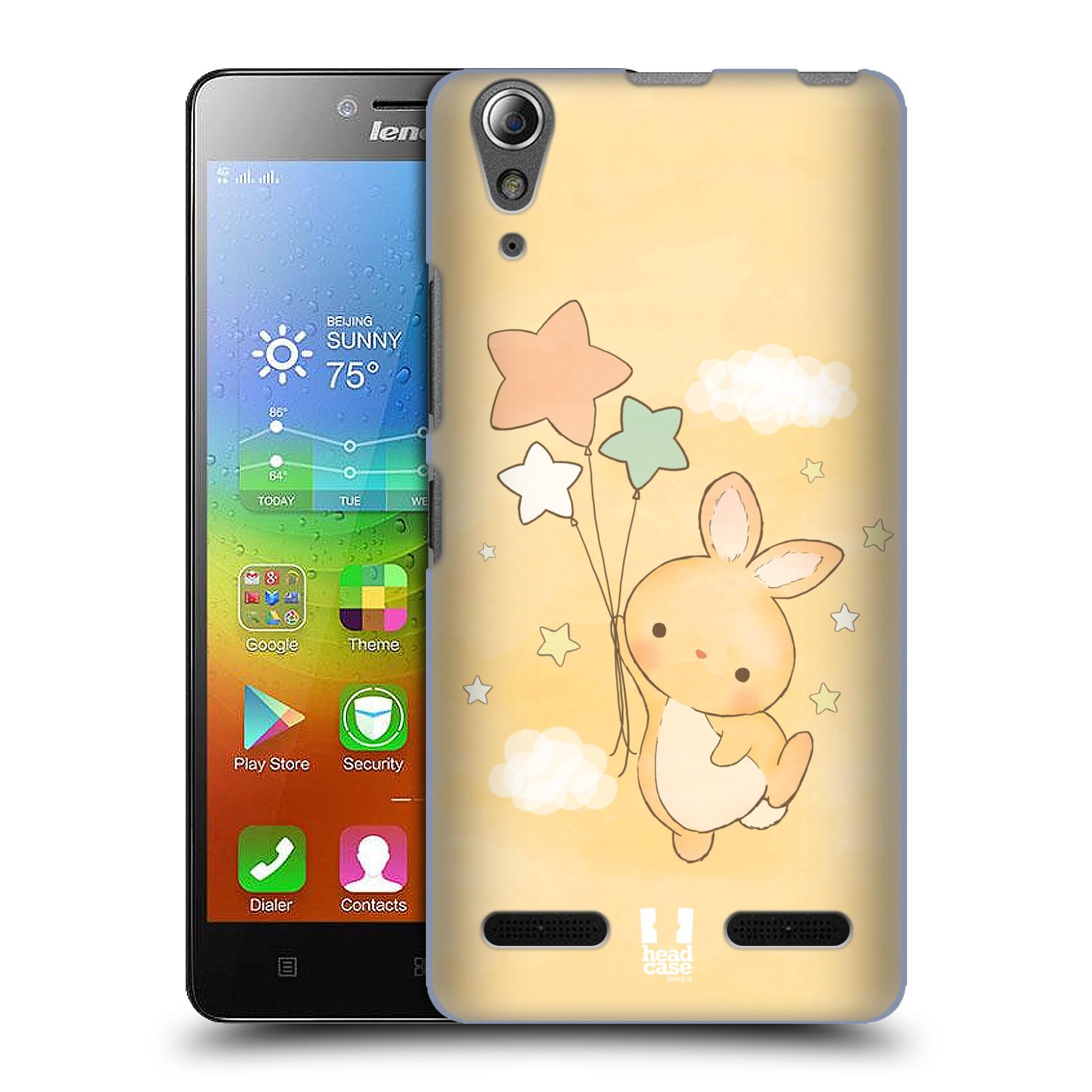 HEAD CASE pevný plastový obal na mobil LENOVO A6000 / A6000 PLUS vzor králíček a hvězdy žlutá