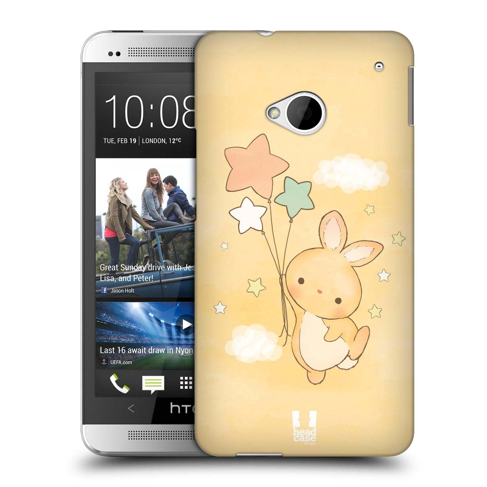 HEAD CASE plastový obal na mobil HTC One (M7) vzor králíček a hvězdy žlutá