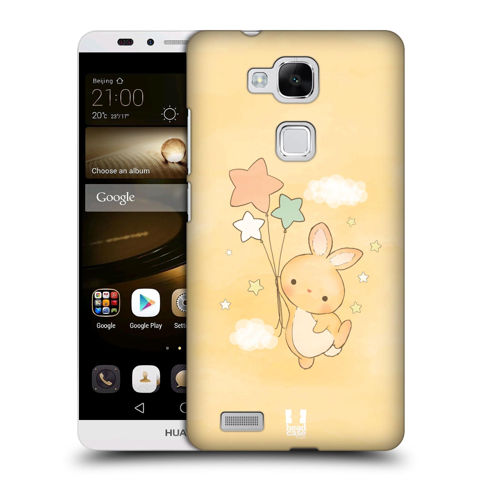 HEAD CASE plastový obal na mobil Huawei Mate 7 vzor králíček a hvězdy žlutá