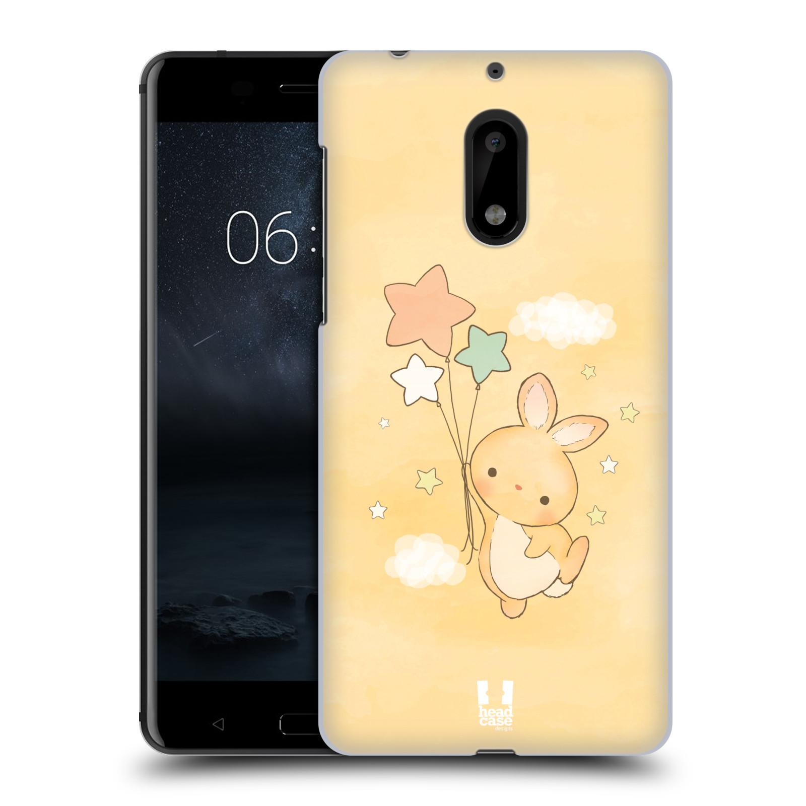 HEAD CASE plastový obal na mobil Nokia 6 vzor králíček a hvězdy žlutá