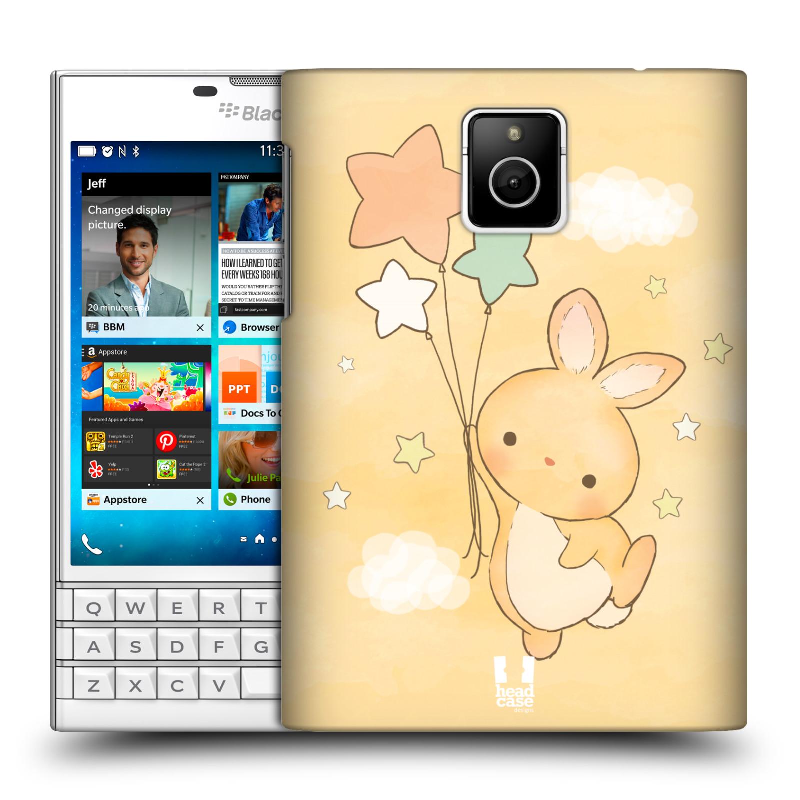 HEAD CASE plastový obal na mobil BlackBerry Passport vzor králíček a hvězdy žlutá