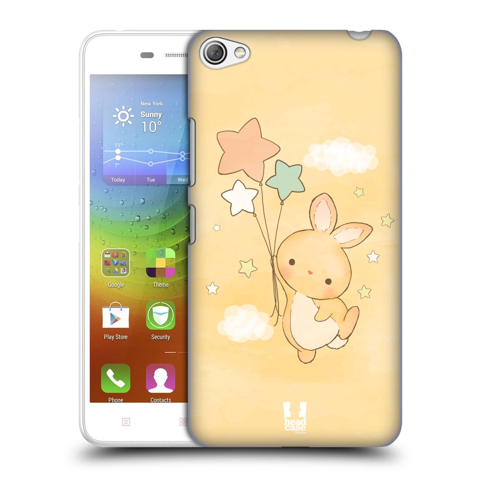HEAD CASE pevný plastový obal na mobil LENOVO S60 / LENOVO S60 DUAL SIM vzor králíček a hvězdy žlutá