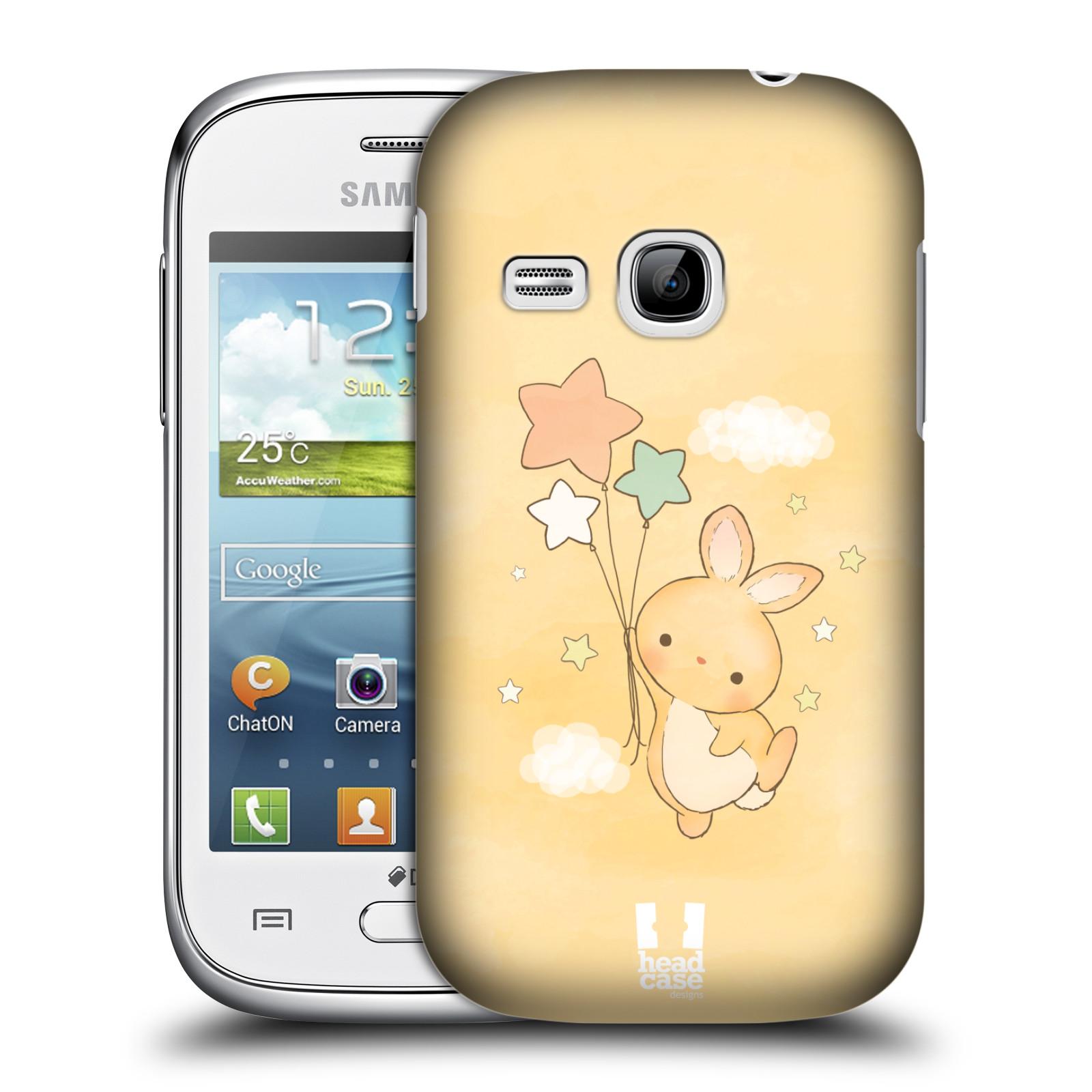 HEAD CASE plastový obal na mobil SAMSUNG Galaxy Young S6310 vzor králíček a hvězdy žlutá