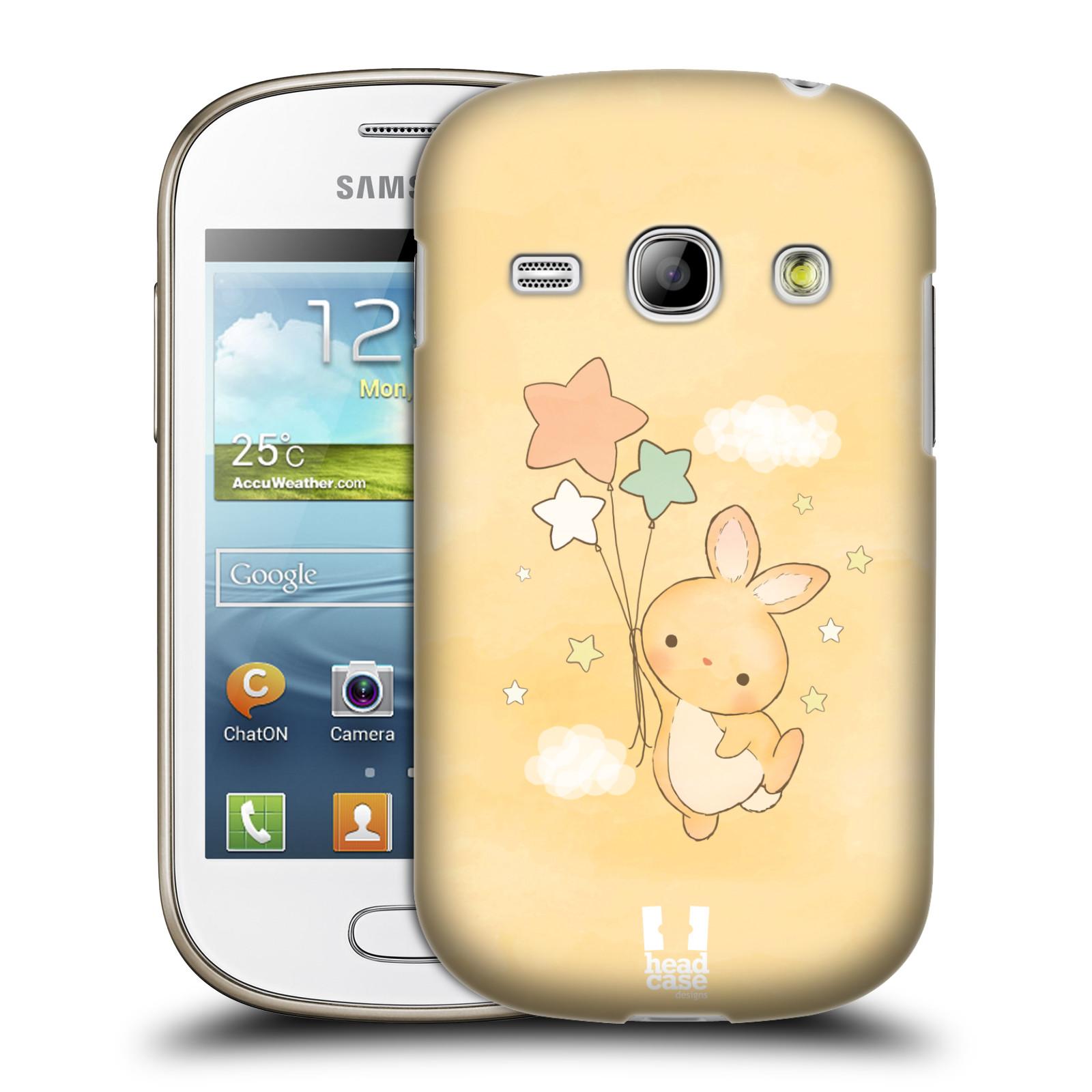 HEAD CASE plastový obal na mobil SAMSUNG GALAXY FAME (S6810) vzor králíček a hvězdy žlutá