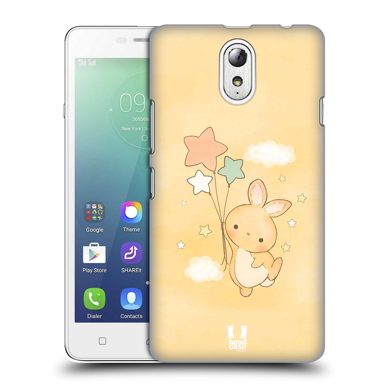 HEAD CASE pevný plastový obal na mobil LENOVO VIBE P1m / LENOVO VIBE p1m DUAL SIM vzor králíček a hvězdy žlutá