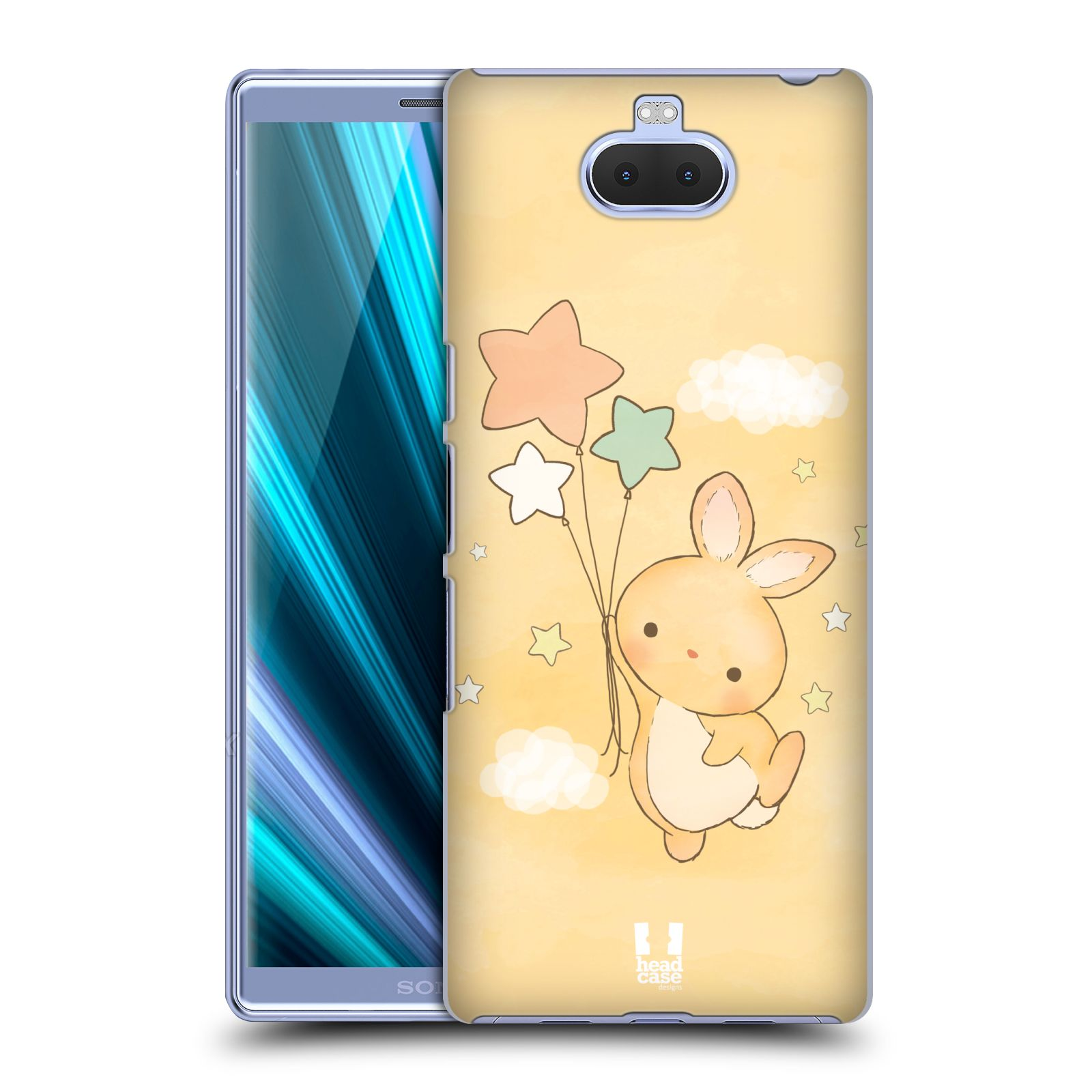 Pouzdro na mobil Sony Xperia 10 - Head Case - vzor králíček a hvězdy žlutá