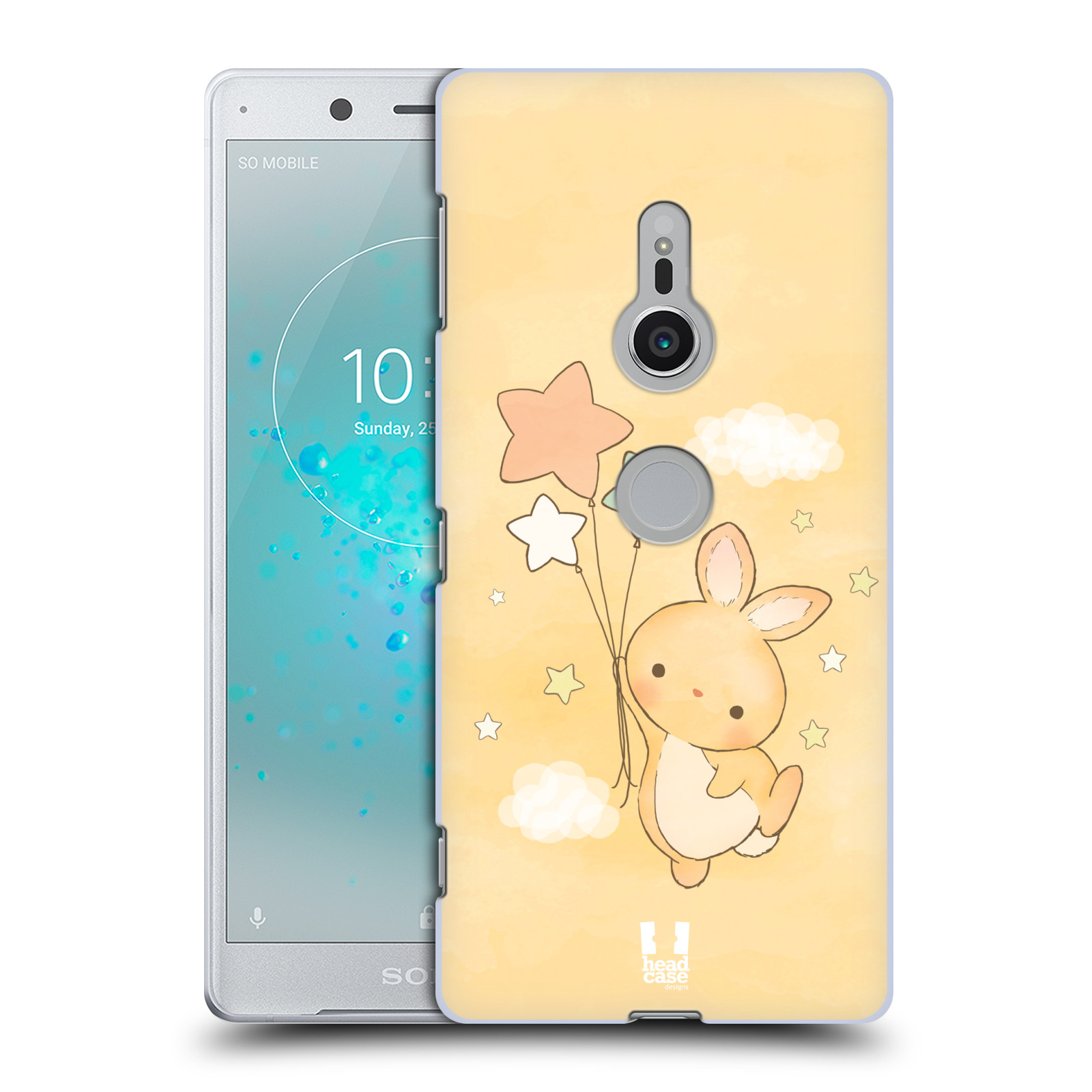 HEAD CASE plastový obal na mobil Sony Xperia XZ2 vzor králíček a hvězdy žlutá
