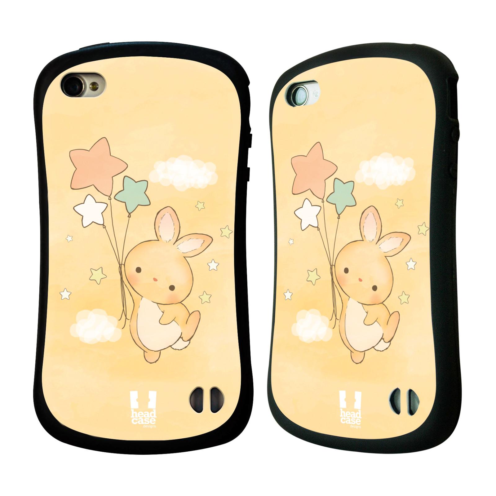 HEAD CASE silikon/plast odolný obal na mobil Apple Iphone 4/4S vzor králíček a hvězdy žlutá