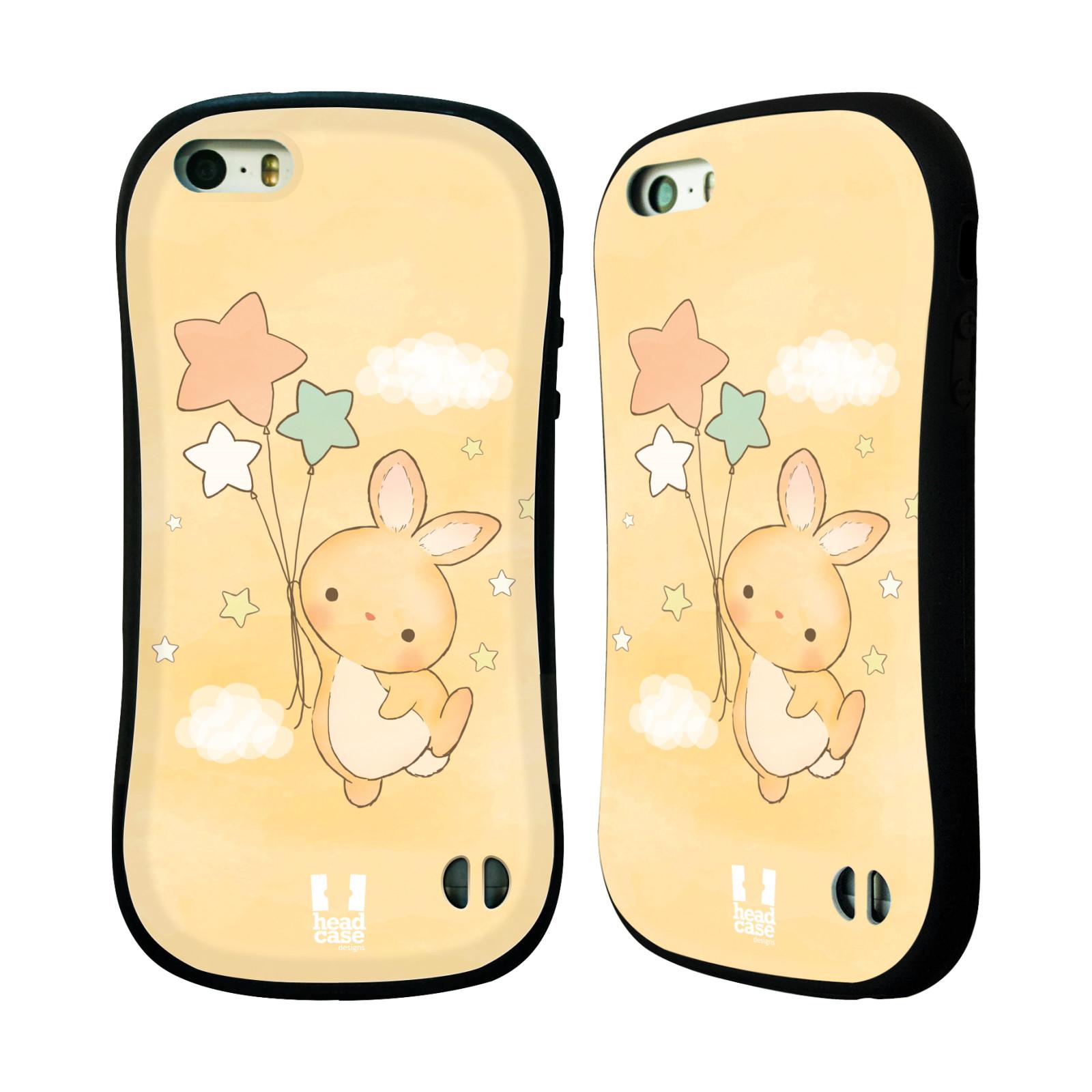 HEAD CASE silikon/plast odolný obal na mobil Apple Iphone 5/5S vzor králíček a hvězdy žlutá