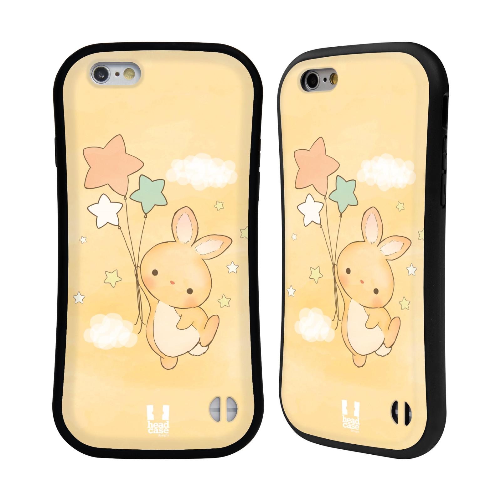 HEAD CASE silikon/plast odolný obal na mobil Apple Iphone 6/6S vzor králíček a hvězdy žlutá