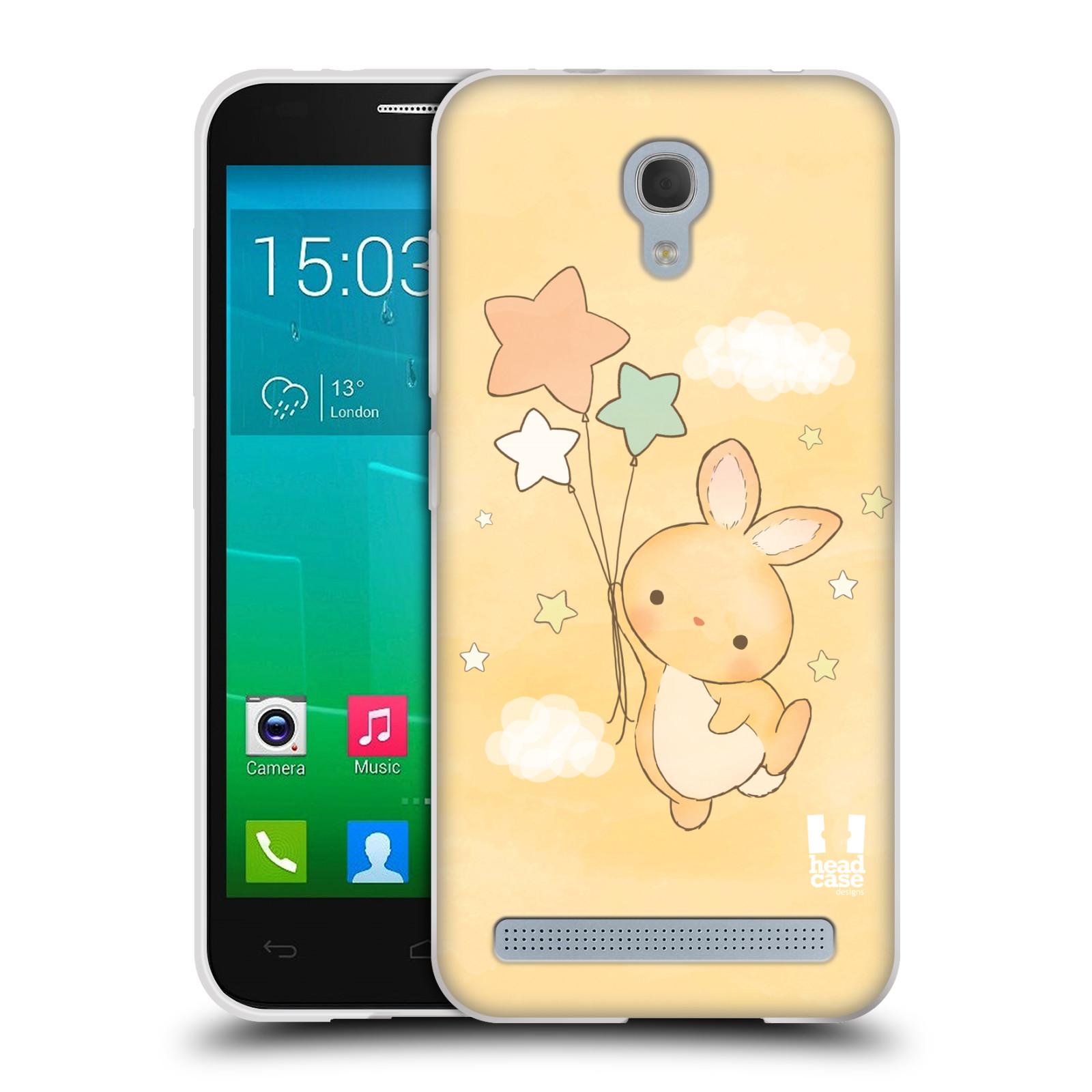HEAD CASE silikonový obal na mobil Alcatel Idol 2 MINI S 6036Y vzor králíček a hvězdy žlutá