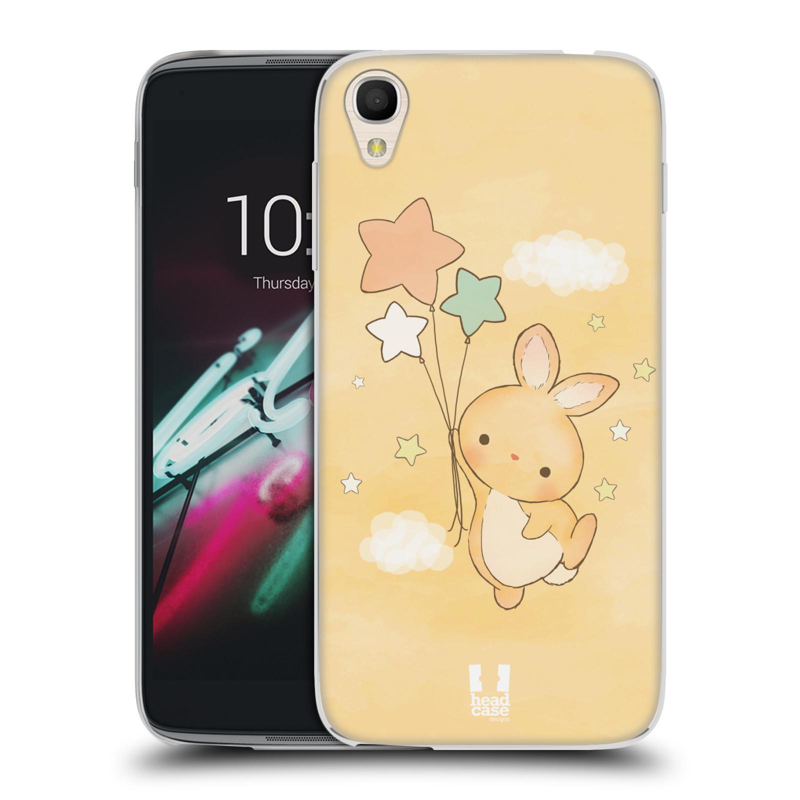 HEAD CASE silikonový obal na mobil Alcatel Idol 3 OT-6039Y (4.7) vzor králíček a hvězdy žlutá
