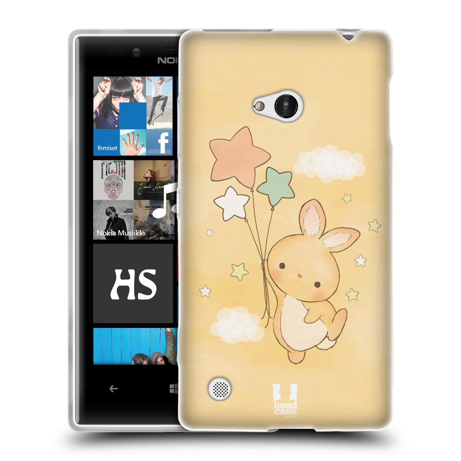 HEAD CASE silikonový obal na mobil NOKIA Lumia 720 vzor králíček a hvězdy žlutá